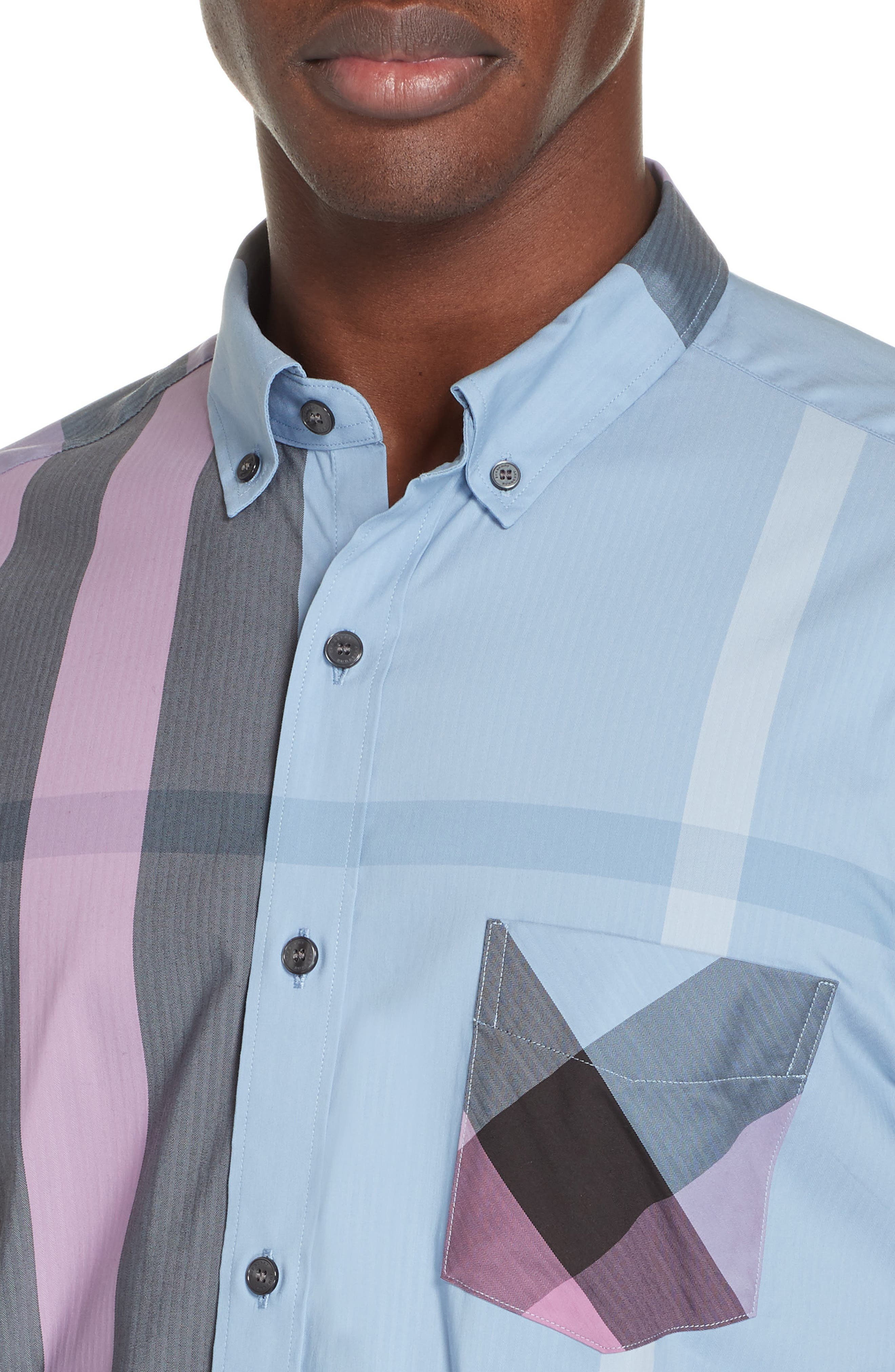 BURBERRY, Thornaby Slim Fit Check Sport Shirt, Alternate thumbnail 2, color, 400