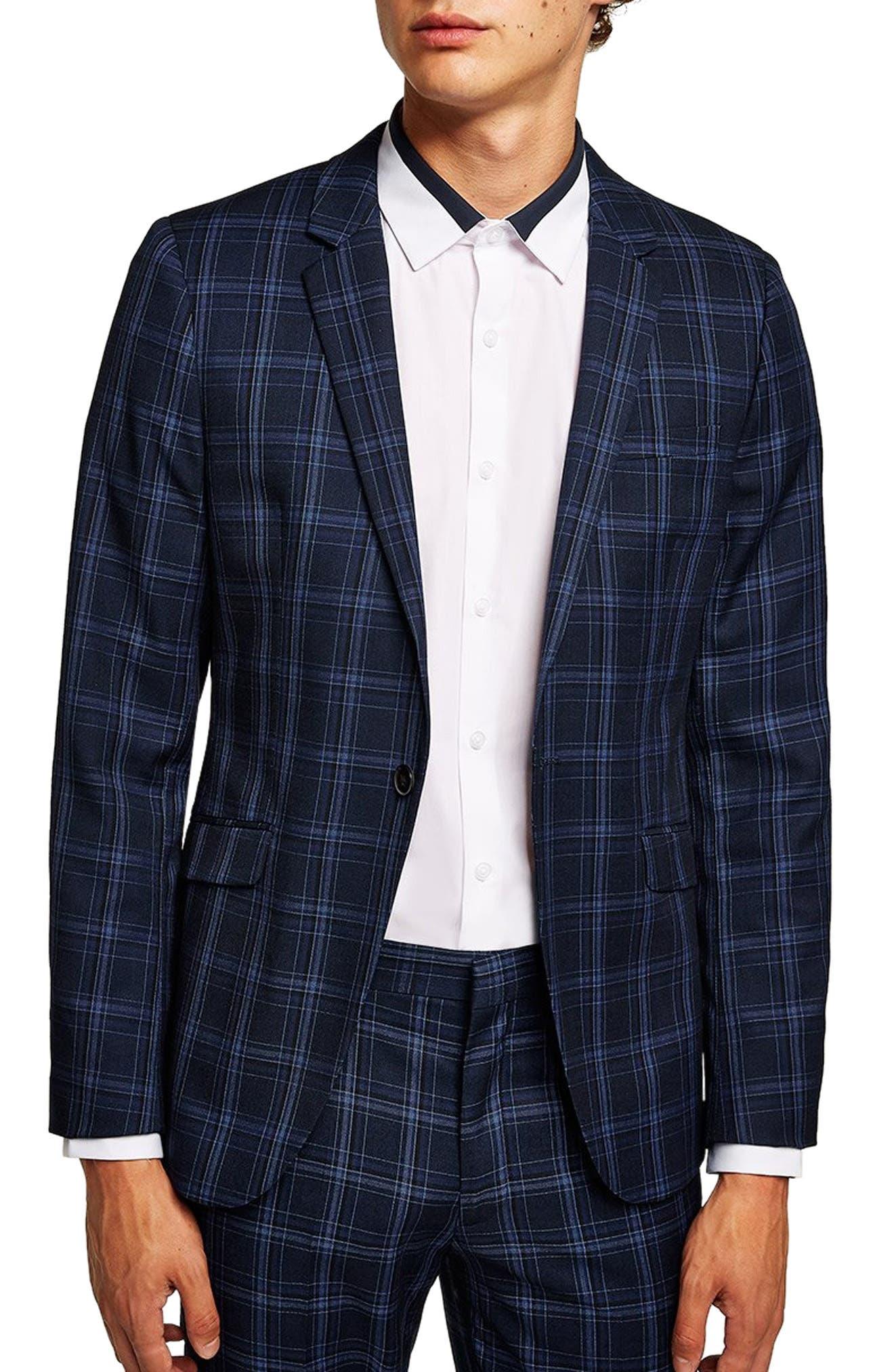 TOPMAN, Skinny Fit Check Suit Jacket, Main thumbnail 1, color, 400