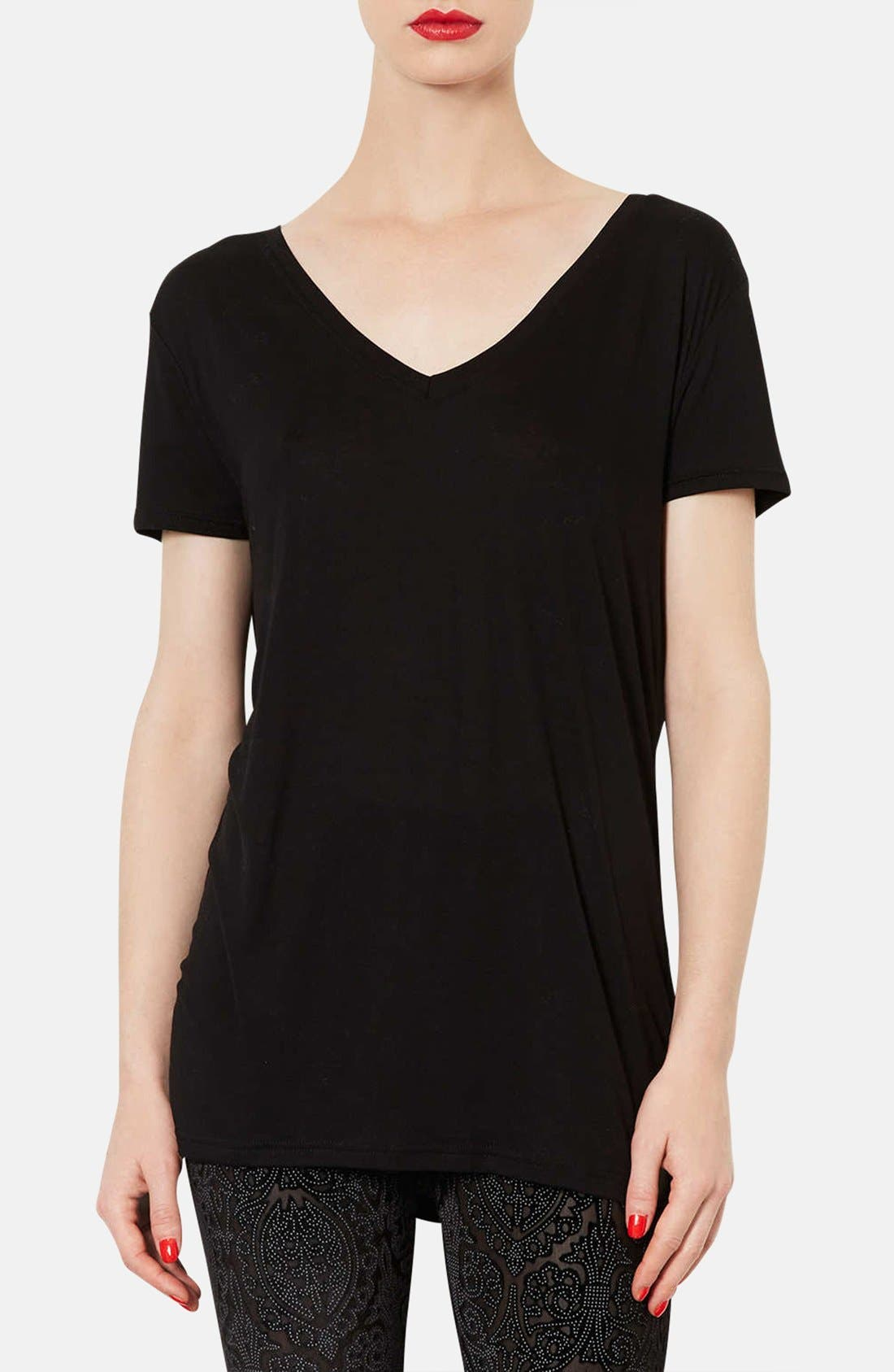TOPSHOP, V-Neck Tee, Main thumbnail 1, color, 001