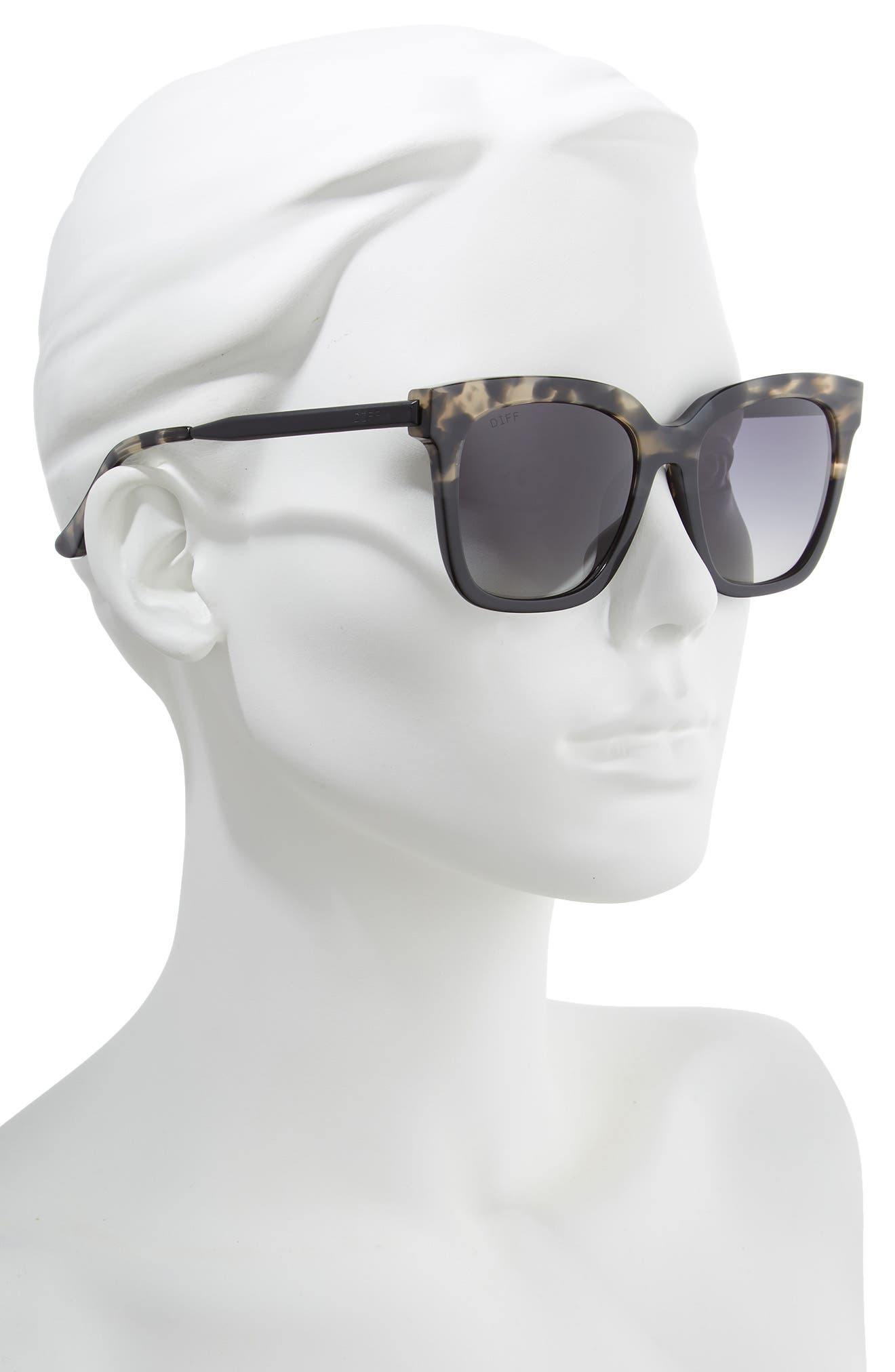 DIFF, Bella 52mm Polarized Sunglasses, Alternate thumbnail 2, color, GREY FAGE/ GREY