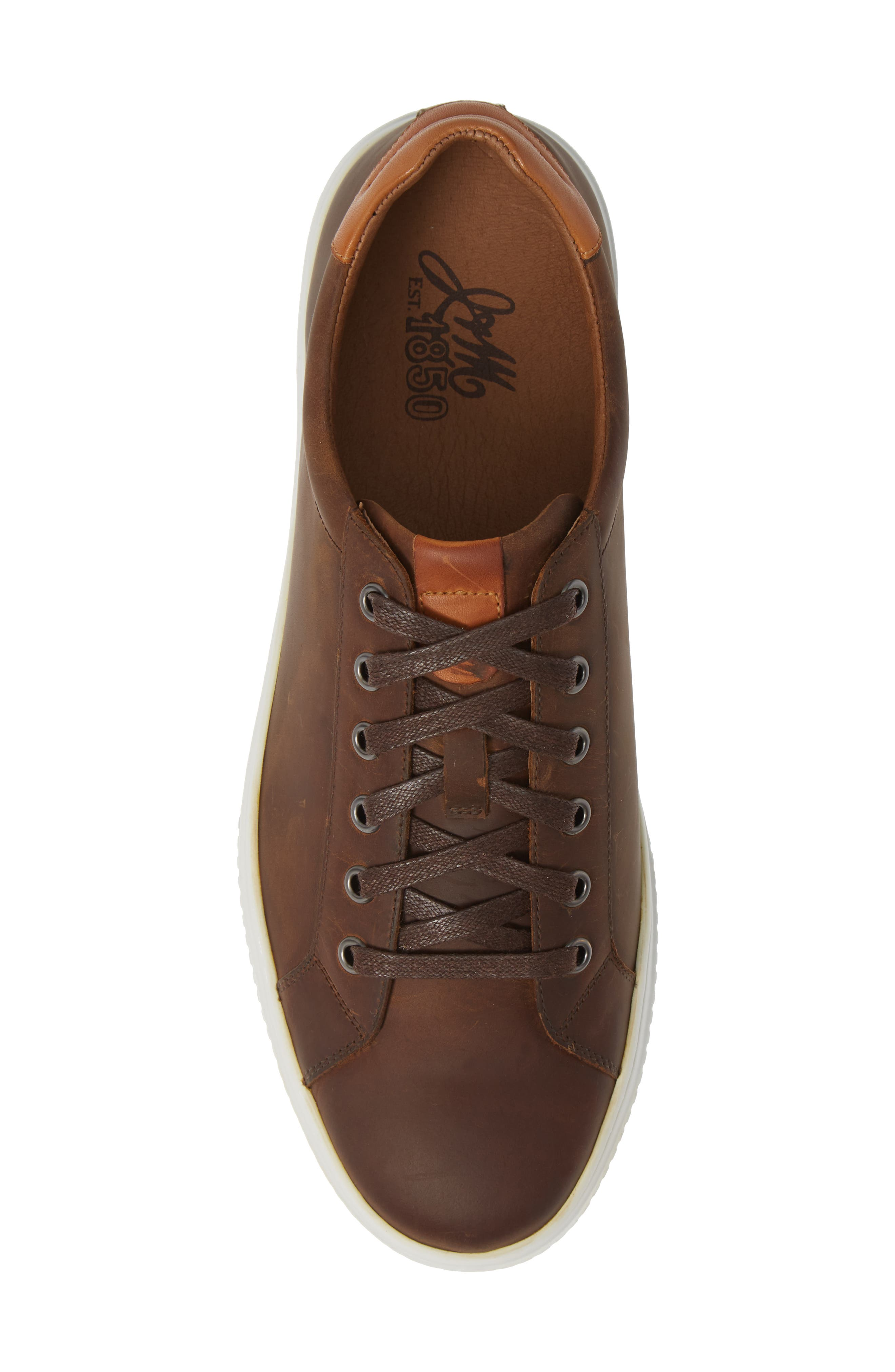 J&M 1850, Toliver Low Top Sneaker, Alternate thumbnail 5, color, TAN LEATHER