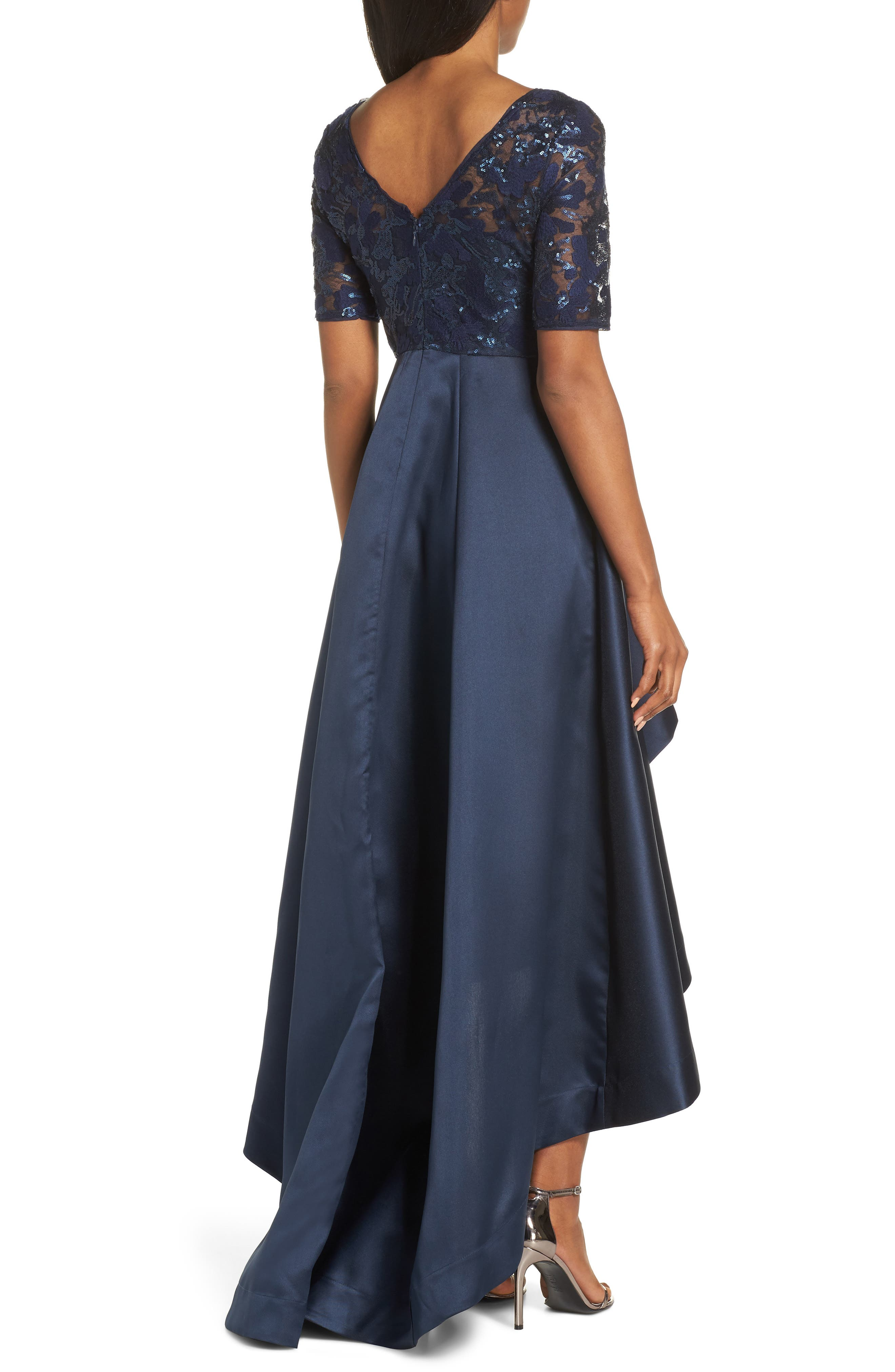 ADRIANNA PAPELL, Sequin Lace High/Low Evening Dress, Alternate thumbnail 2, color, MIDNIGHT