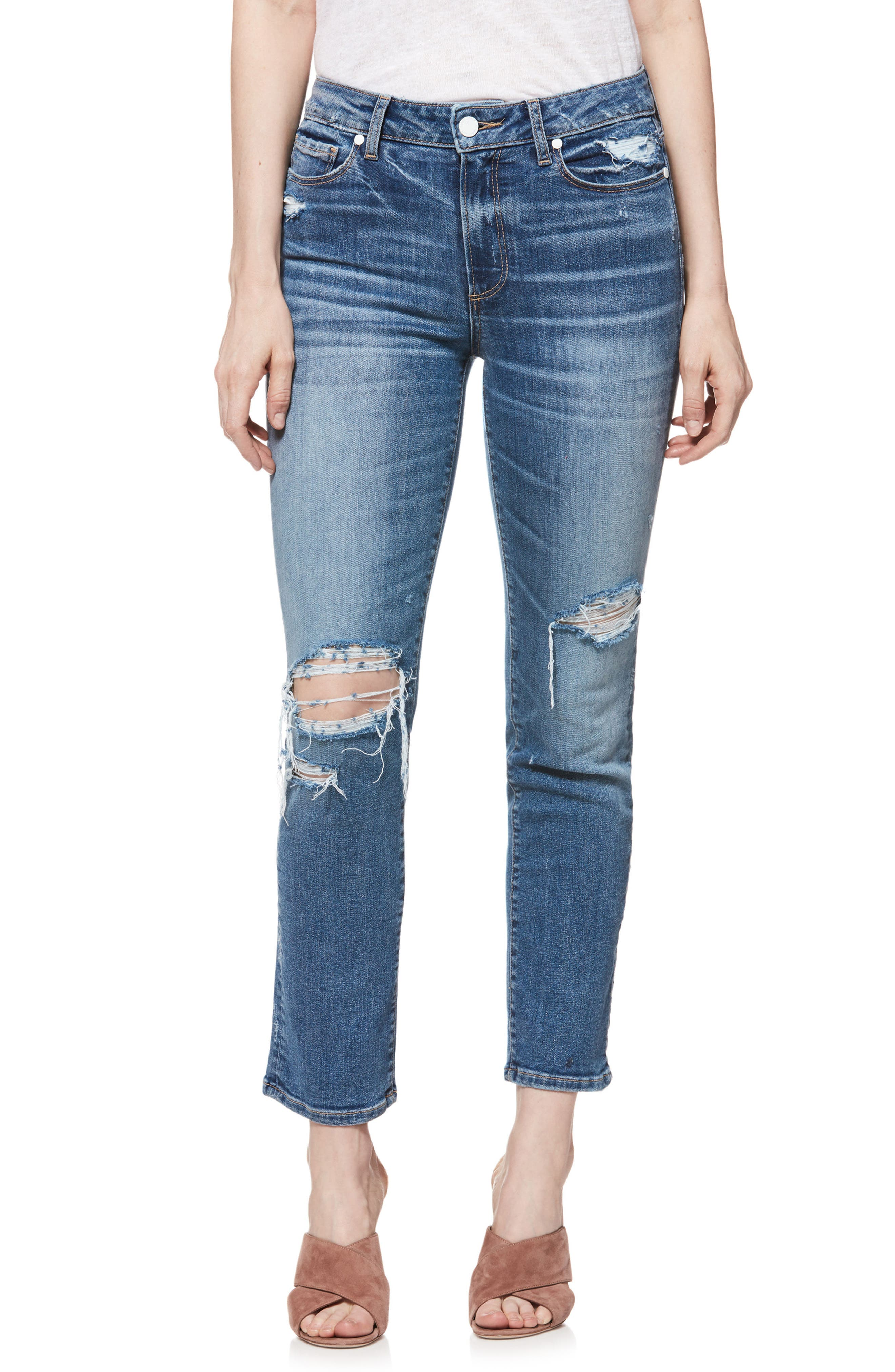 PAIGE Verdugo Transcend Vintage Ripped Ankle Skinny Jeans, Main, color, EMBARCADERO DESTRUCTED
