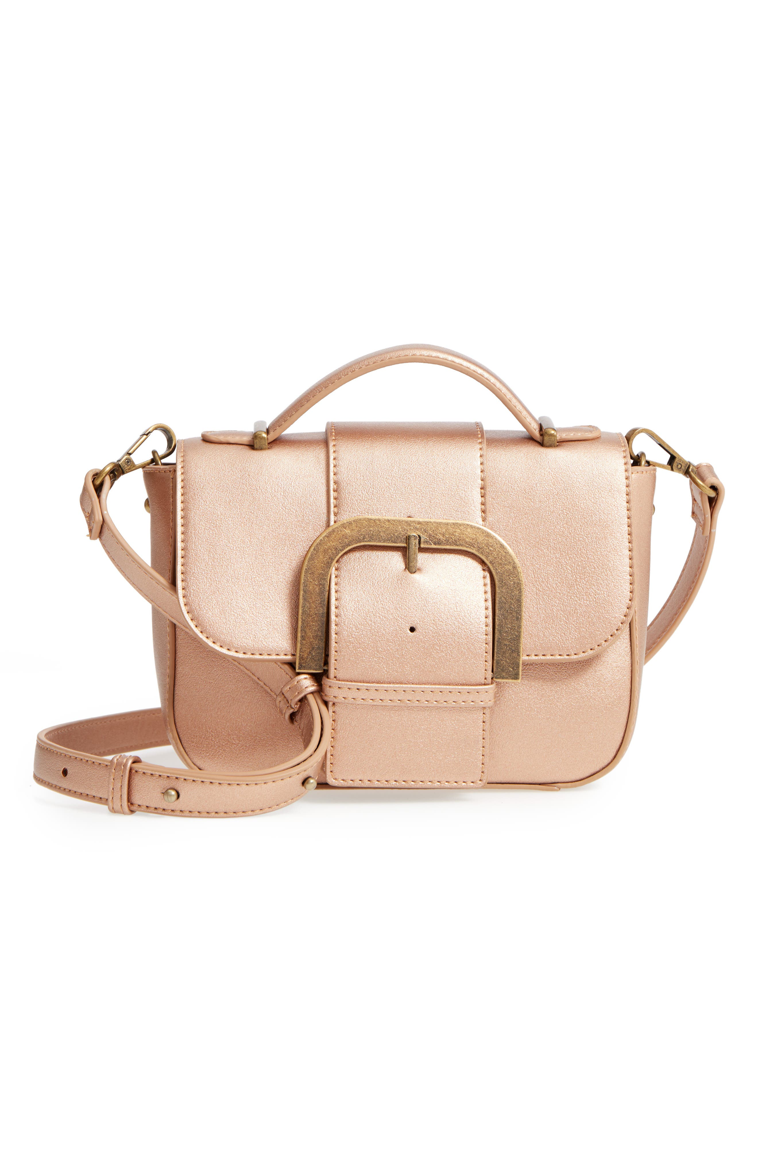 MALIBU SKYE, Oversize Buckle Top Handle Bag, Main thumbnail 1, color, ROSE GOLD