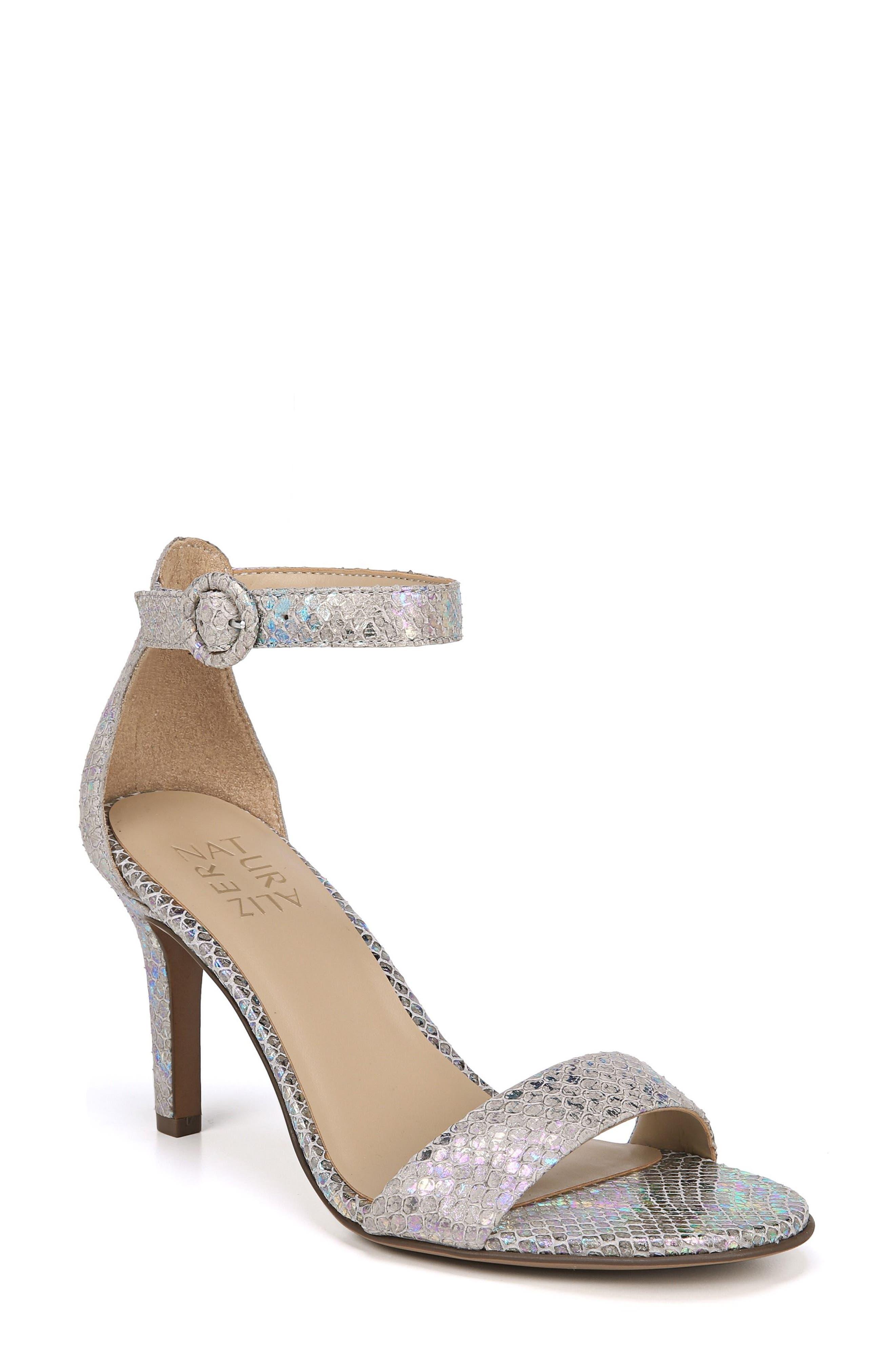 NATURALIZER Kinsley Ankle Strap Sandal, Main, color, SILVER SNAKE LEATHER