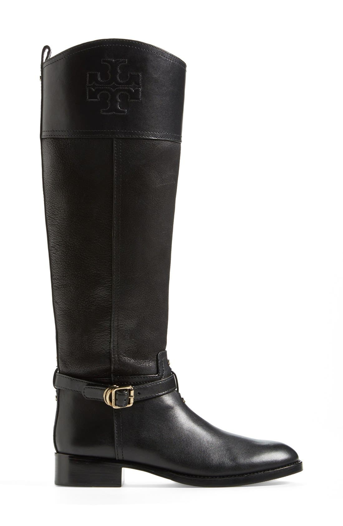TORY BURCH, 'Simone' Riding Boot, Alternate thumbnail 4, color, 009