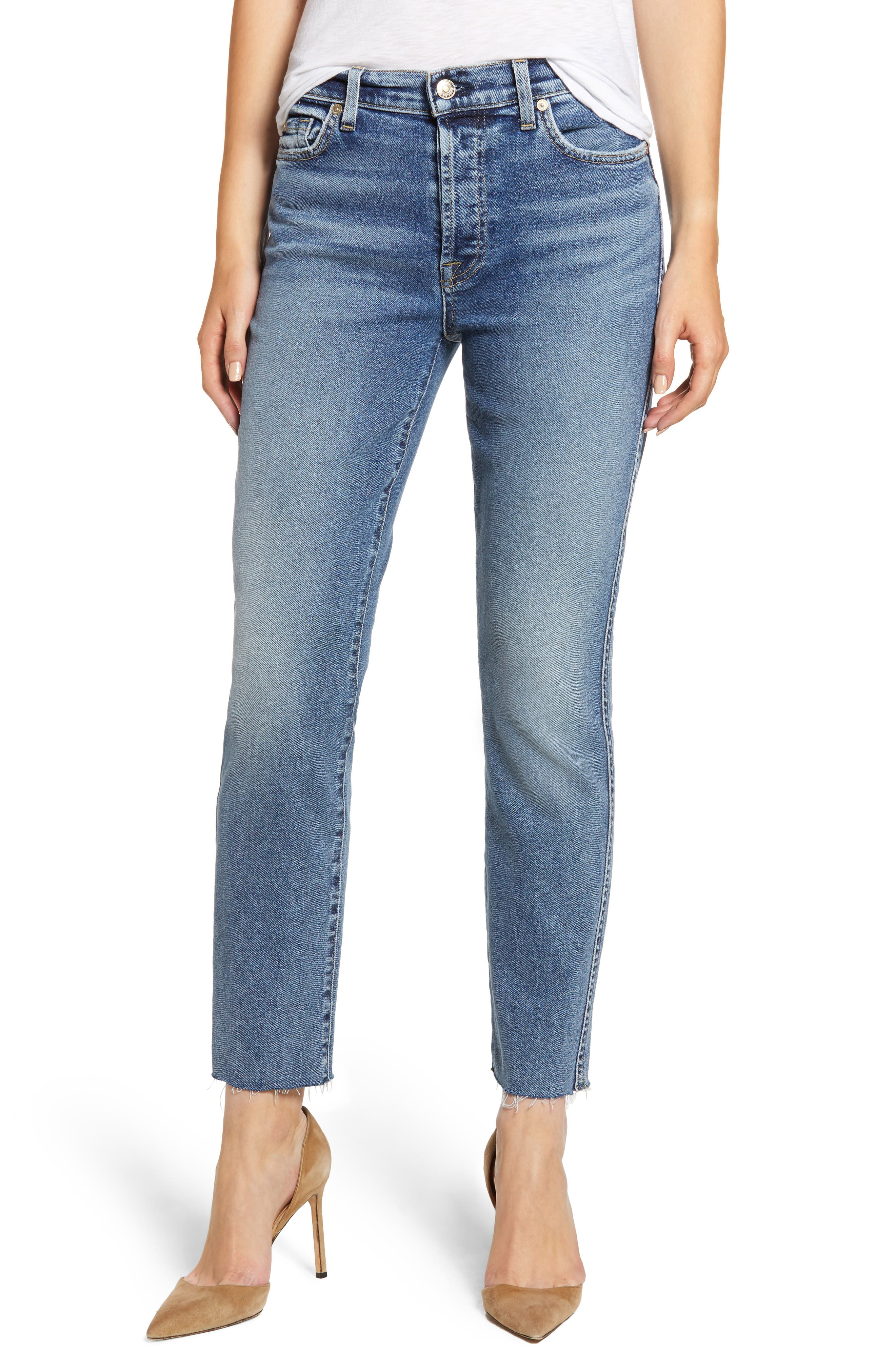 7 FOR ALL MANKIND<SUP>®</SUP>, Luxe Vintage Edie Cutoff Hem Straight Leg Jeans, Main thumbnail 1, color, LUXE VINTAGE MUSE