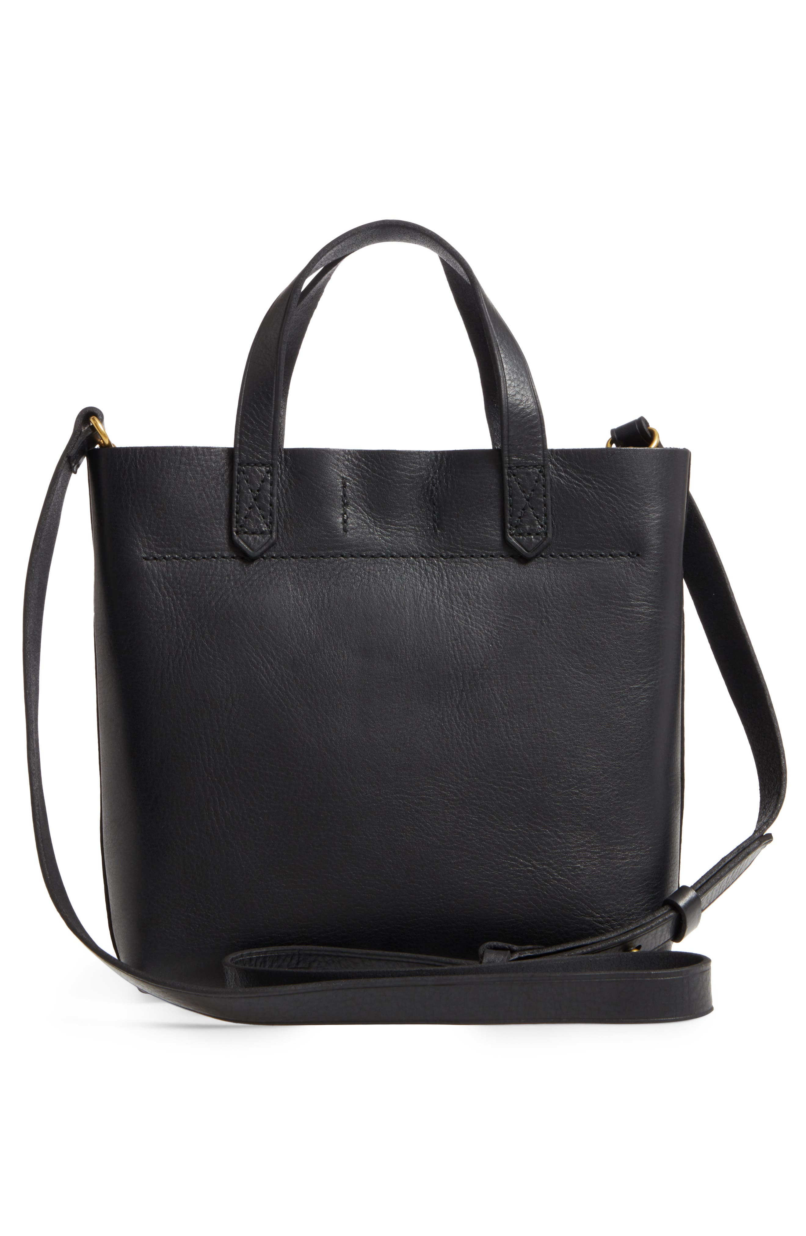 MADEWELL, Small Transport Leather Crossbody, Alternate thumbnail 4, color, 001