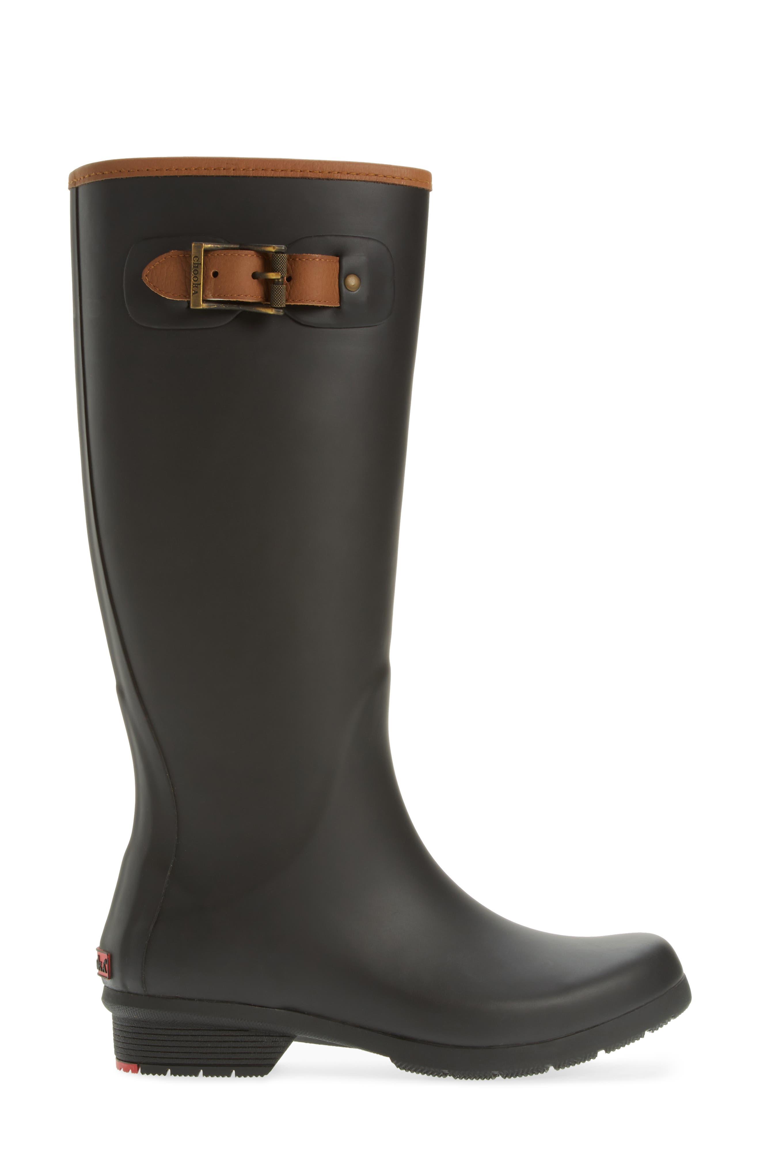 CHOOKA, City Tall Rain Boot, Alternate thumbnail 3, color, BLACK
