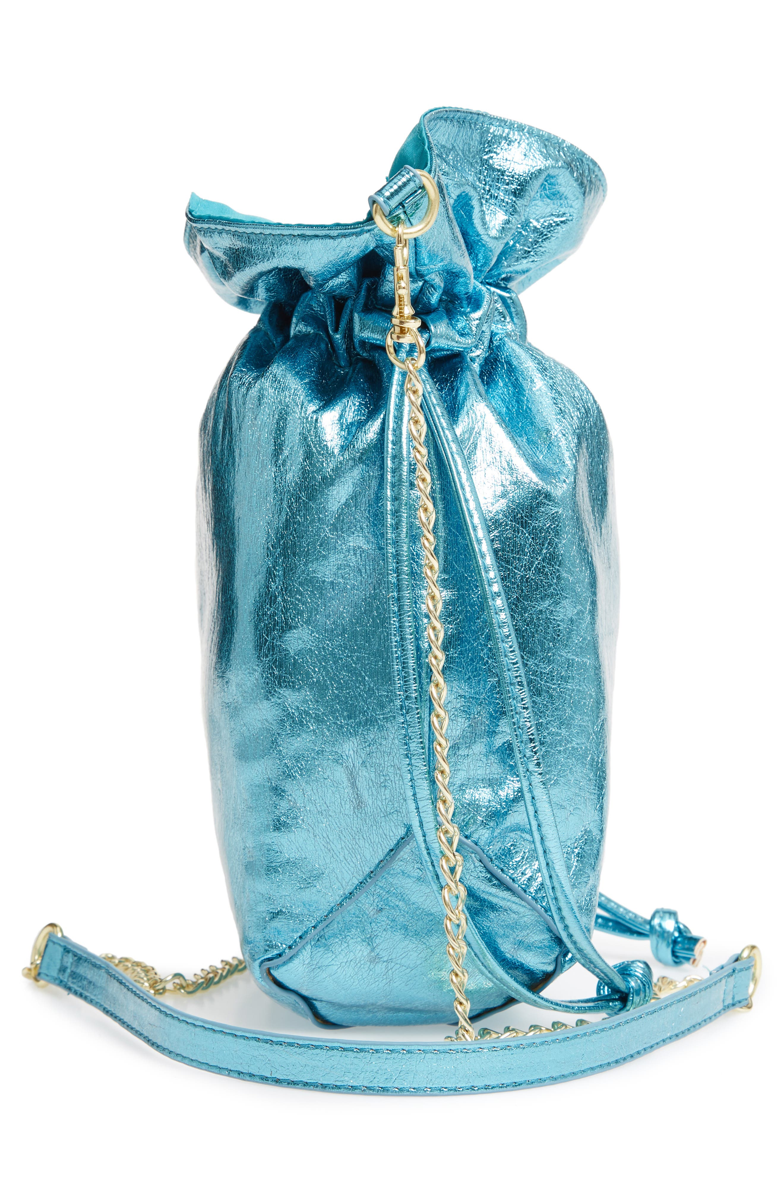 LEITH, Mini Slouch Drawstring Bag, Alternate thumbnail 6, color, BLUE METALLIC