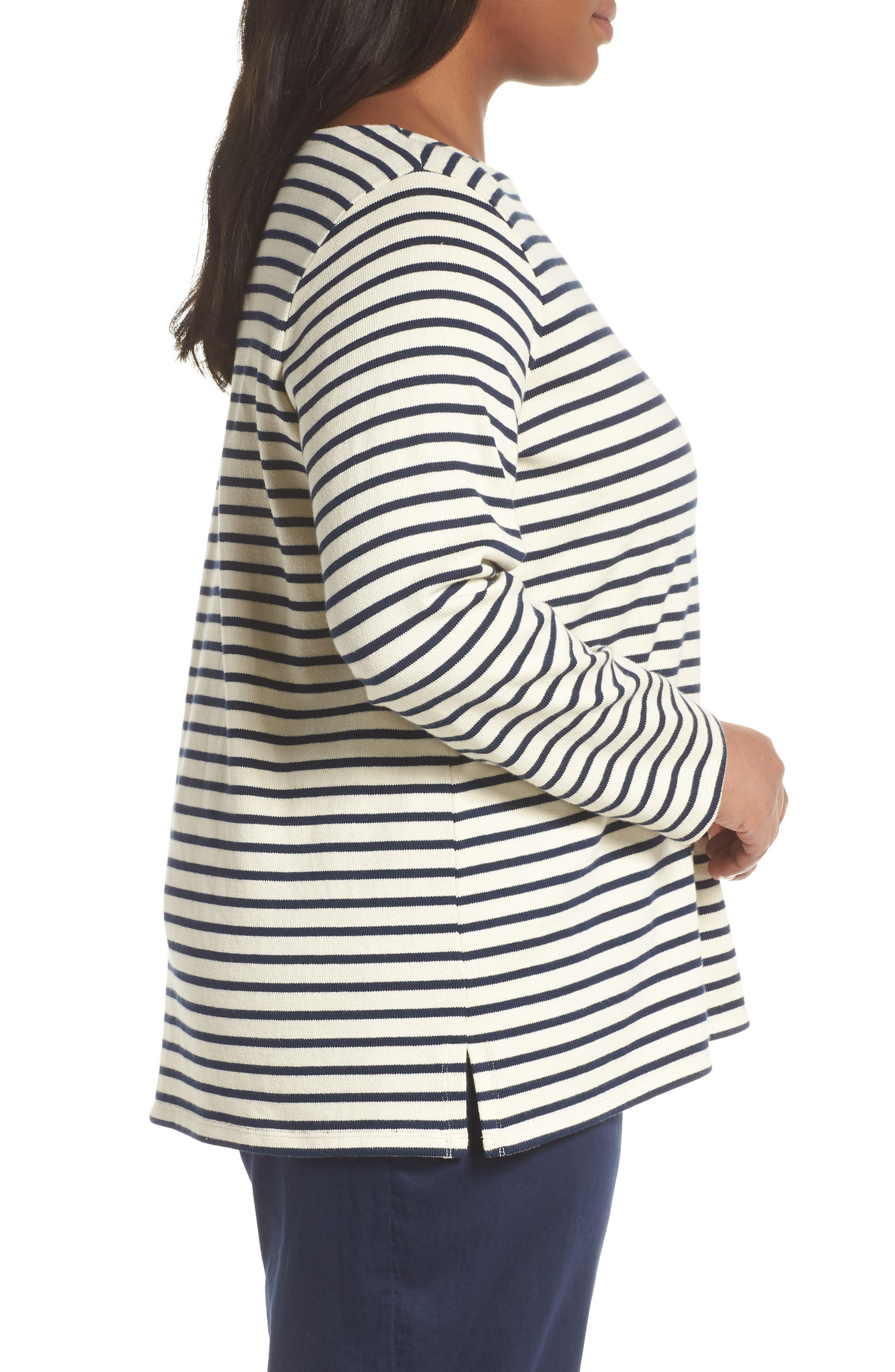 EILEEN FISHER, Seaside Stripe Bateau Neck Tunic, Alternate thumbnail 3, color, 103