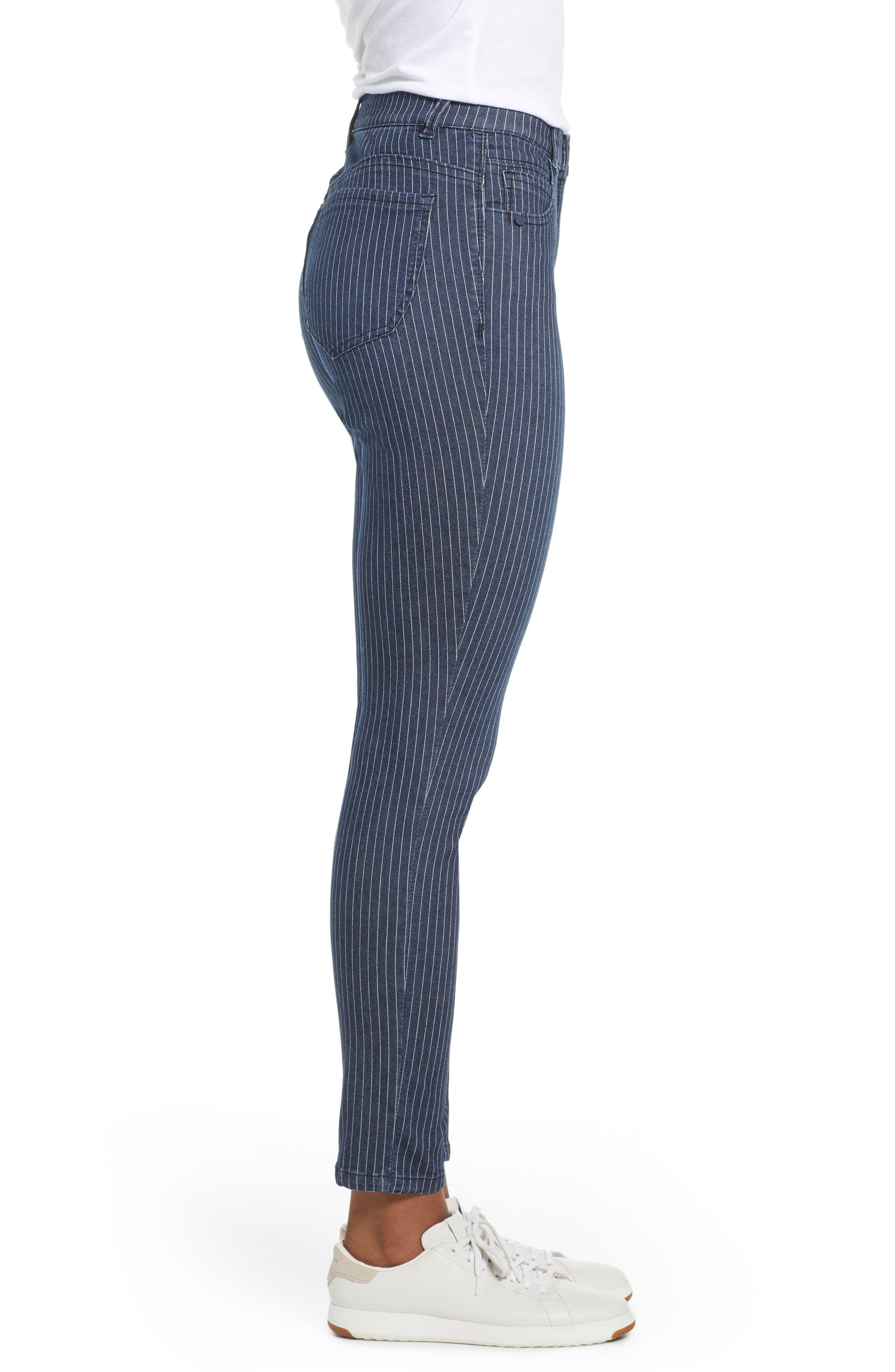 WIT & WISDOM, Ab-Solution Stripe High Waist Crop Skinny Jeans, Alternate thumbnail 4, color, INDIGO