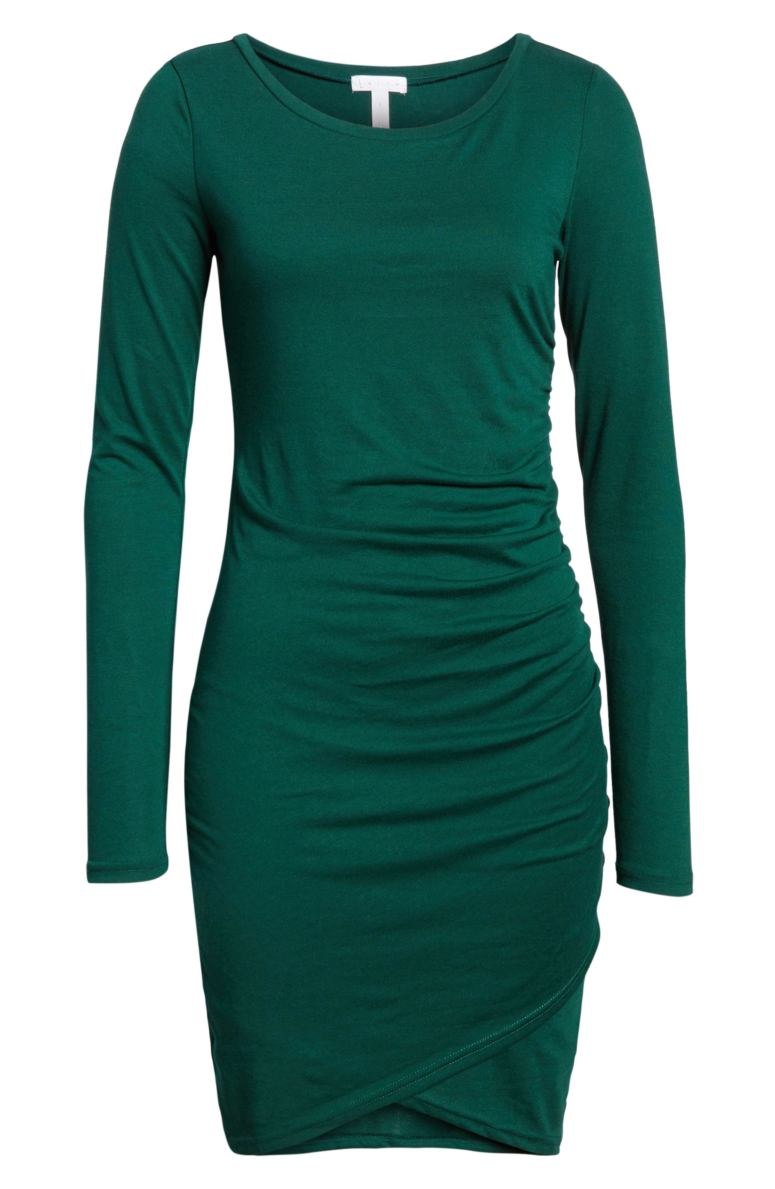 LEITH, Ruched Long Sleeve Dress, Alternate thumbnail 7, color, 302