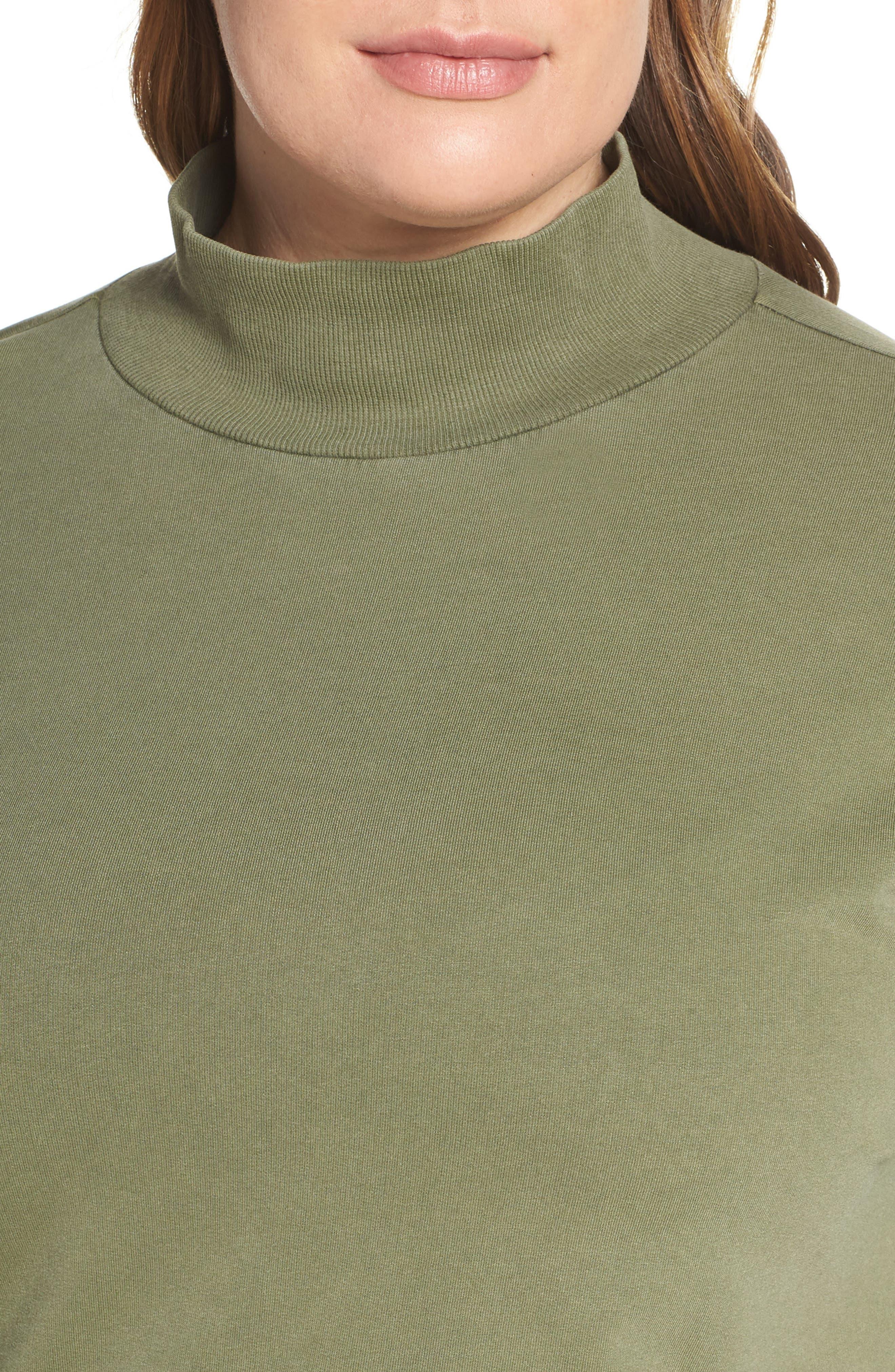 BP., Washed Mock Neck Sweatshirt, Alternate thumbnail 10, color, OLIVE BURNT