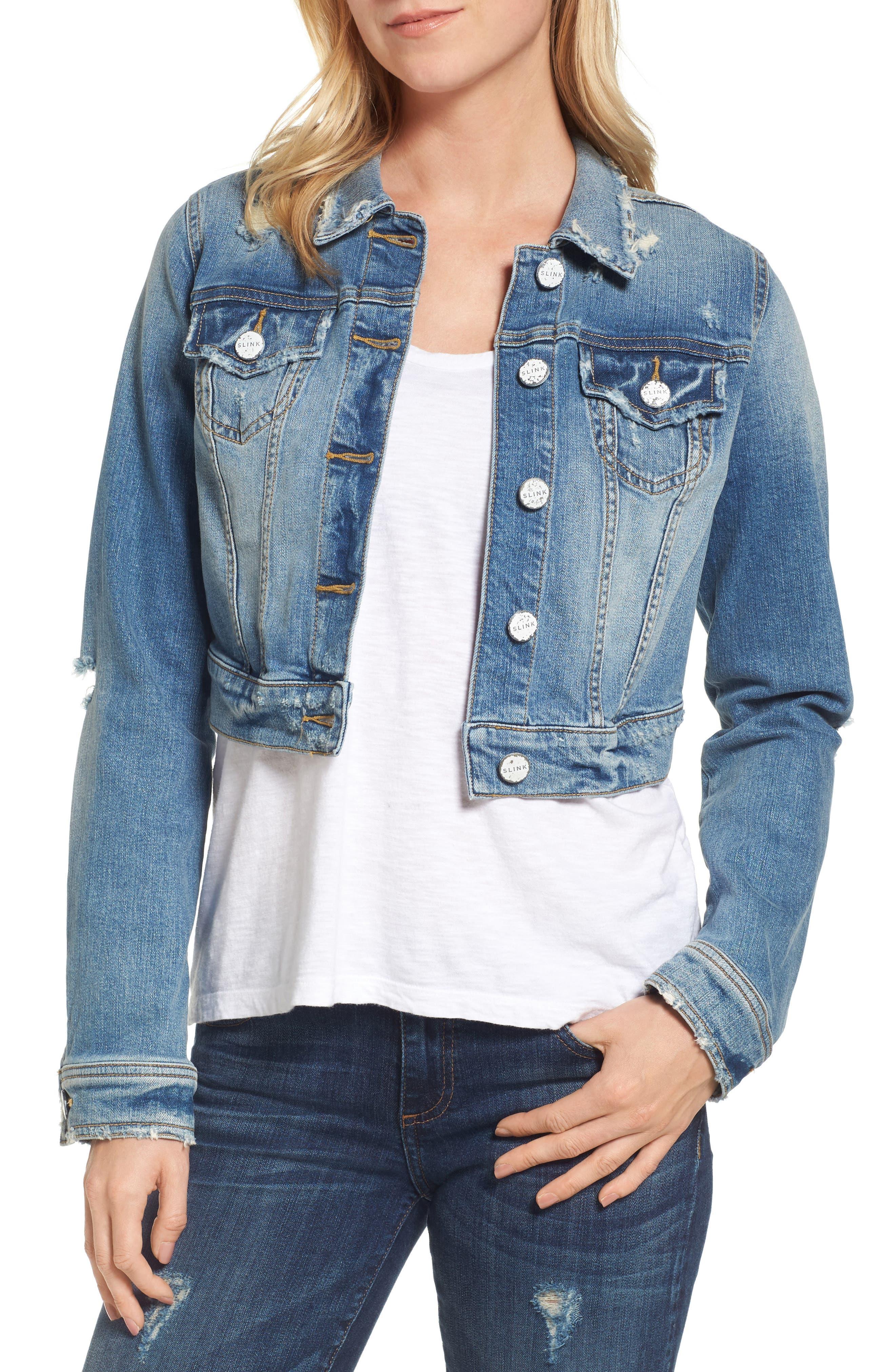 SLINK JEANS Crop Denim Jacket, Main, color, 482
