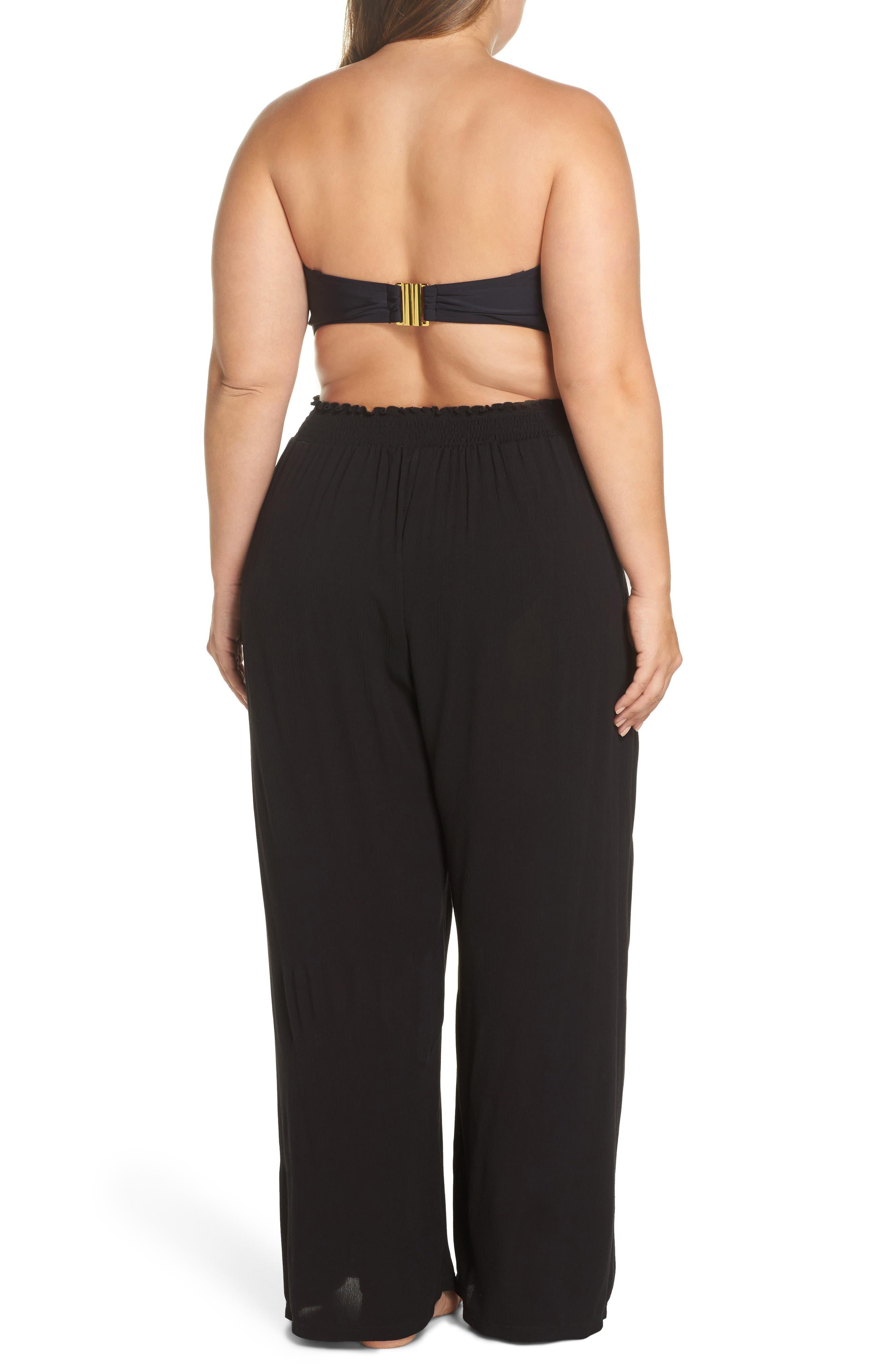 BECCA ETC., Modern Muse Cover-Up Pants, Alternate thumbnail 2, color, BLACK