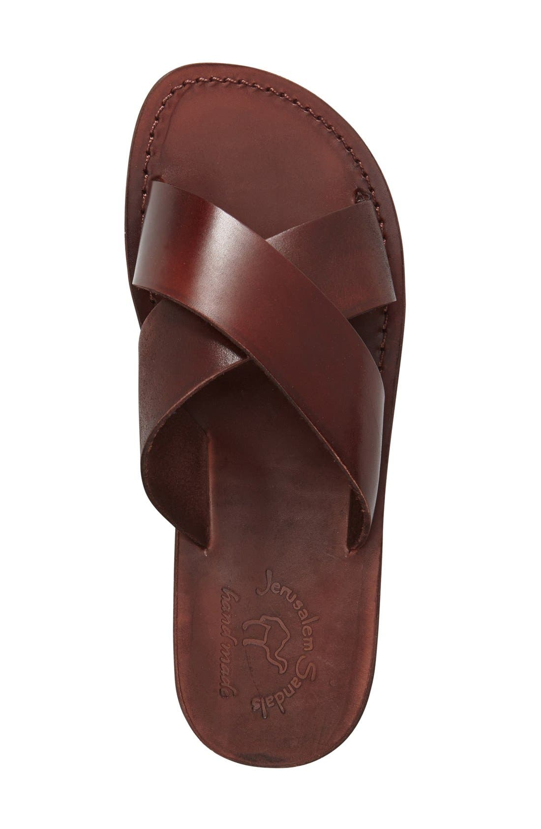 JERUSALEM SANDALS, 'Elan' Slide Sandal, Alternate thumbnail 6, color, BROWN LEATHER