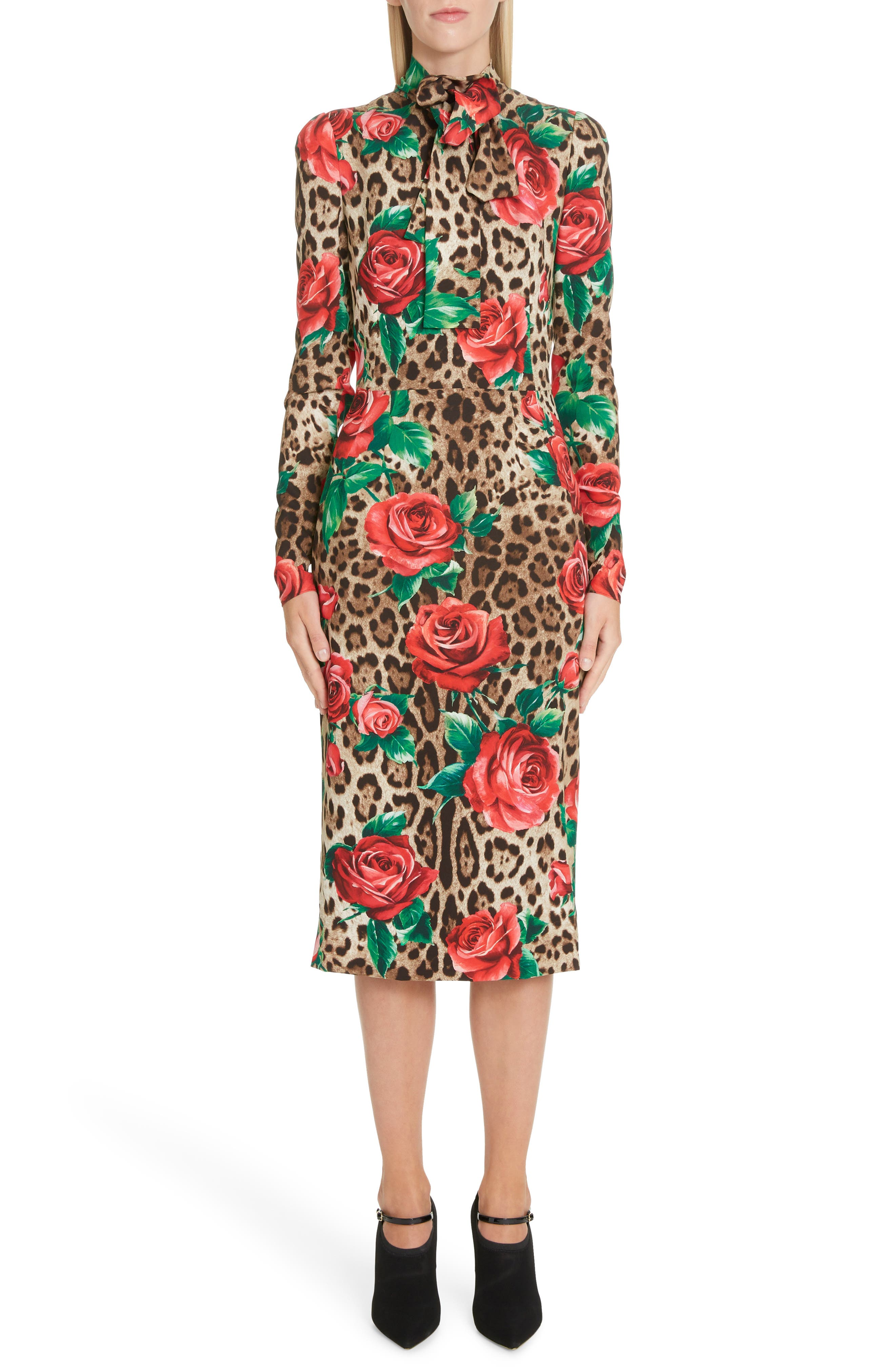 Dolce & gabbana Rose & Leopard Print Tie Neck Stretch Silk Midi Dress, US / 46 IT - Brown