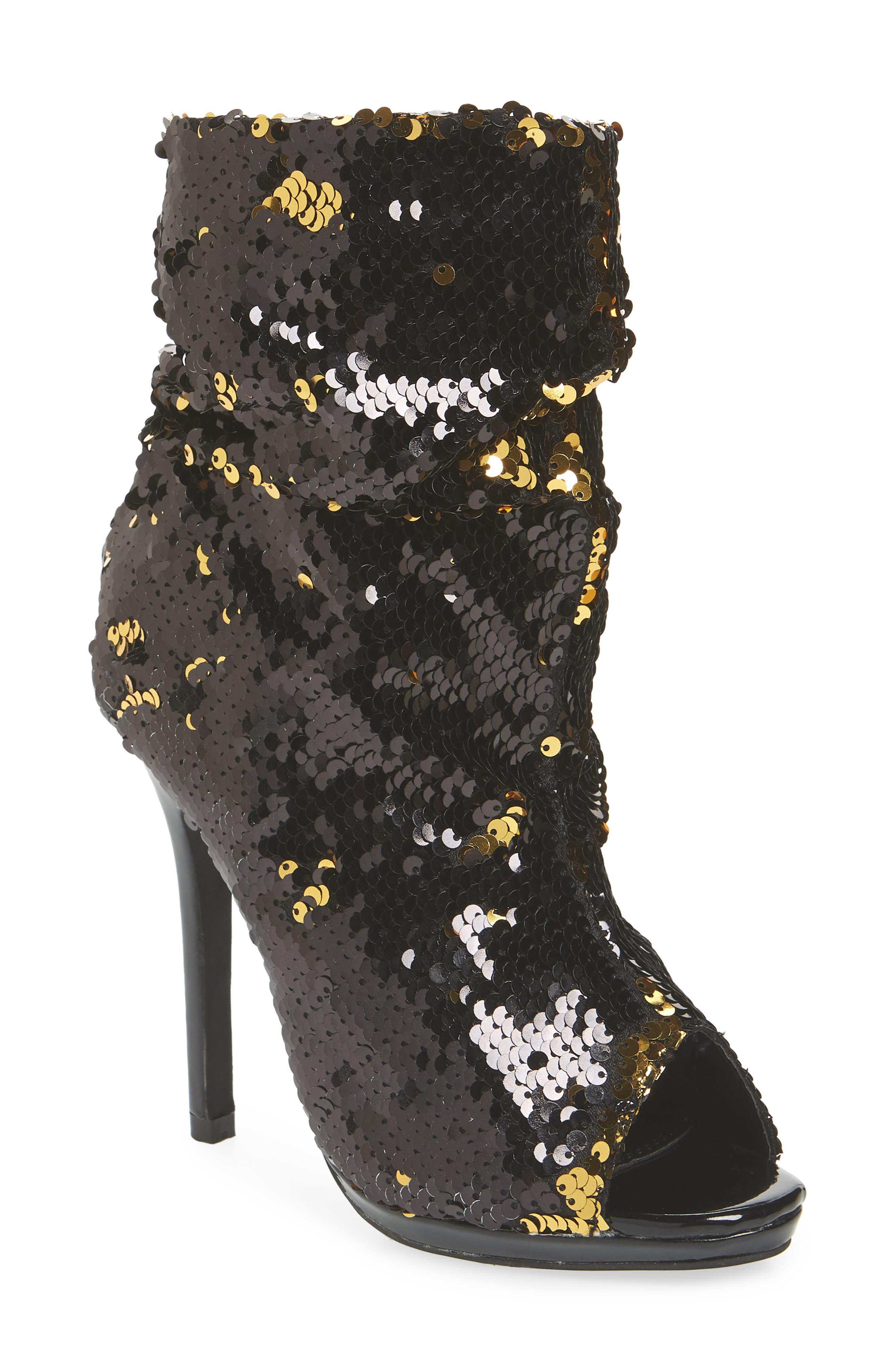 LAUREN LORRAINE Marlow Sequin Slouch Bootie, Main, color, BLACK FABRIC
