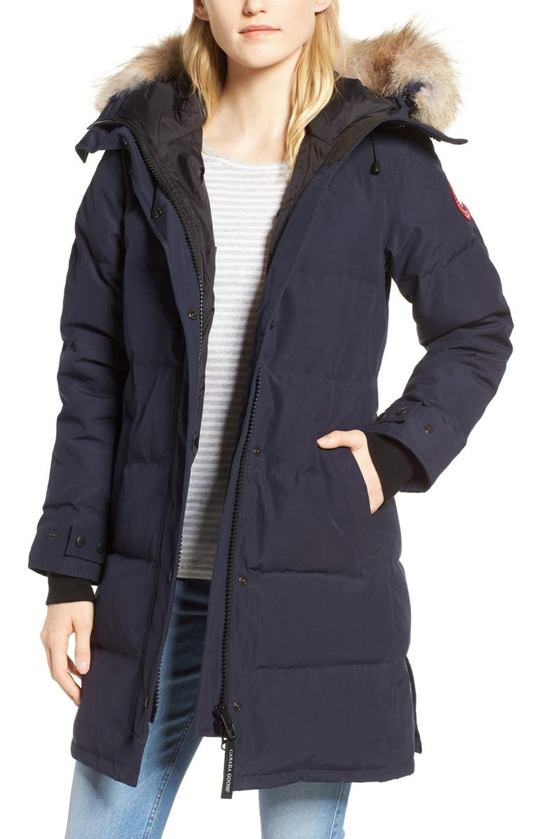Canada Goose Shelburne Fusion Fit Genuine Coyote Fur Trim Down Parka In Navy