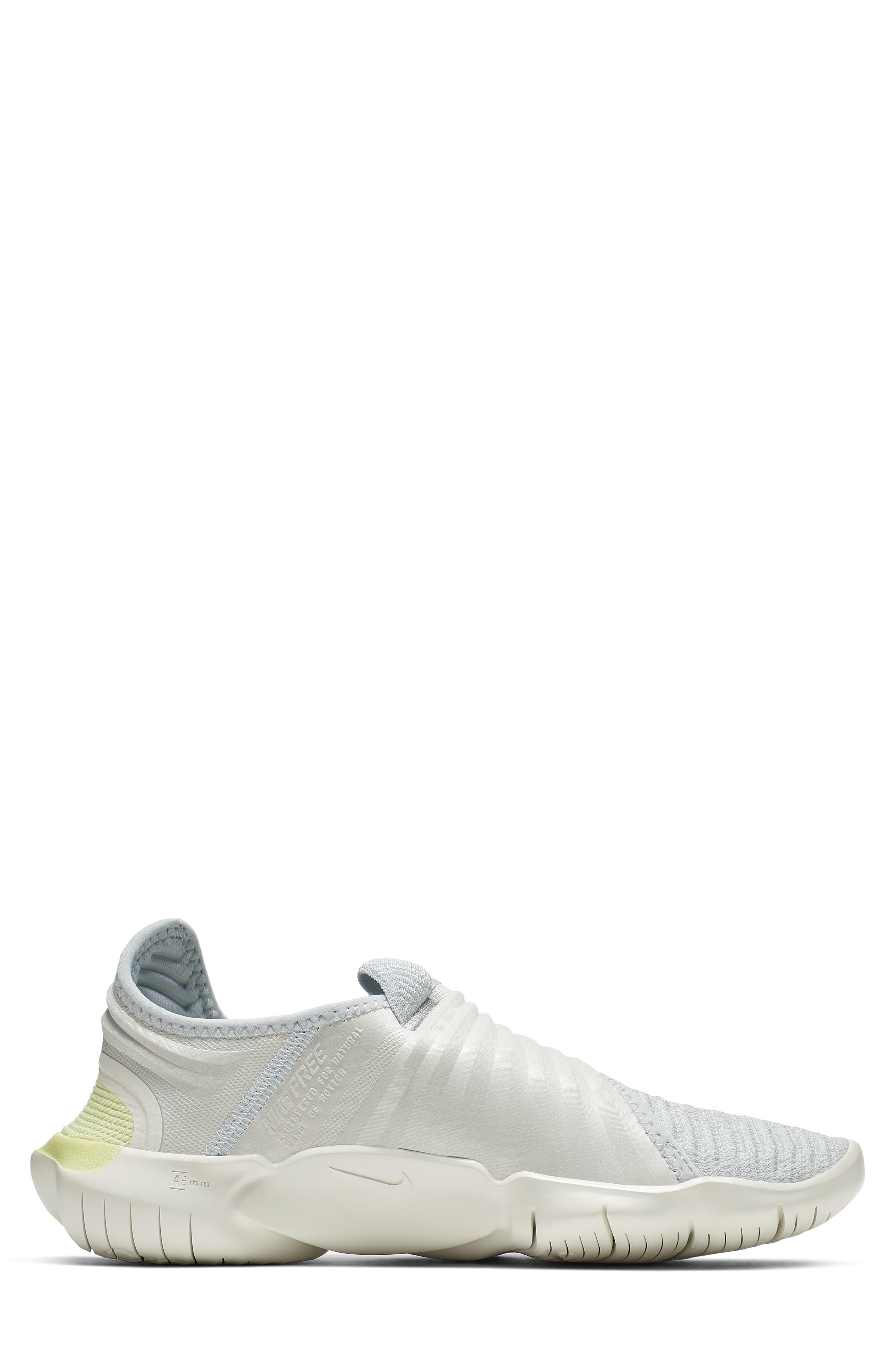 NIKE, Free RN Flyknit 3.0 Running Shoe, Alternate thumbnail 3, color, PURE PLATINUM/ BLACK/ GREEN