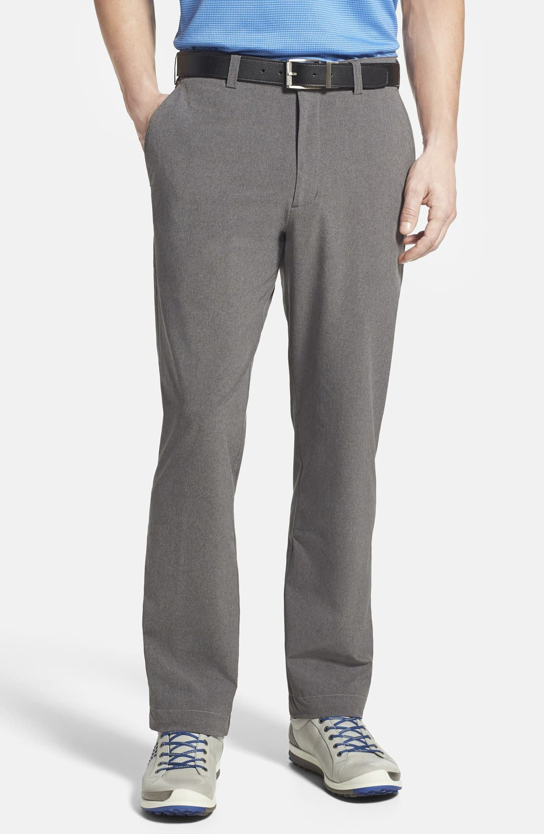 CUTTER & BUCK, 'Bainbridge' DryTec Flat Front Pants, Main thumbnail 1, color, IRON GREY