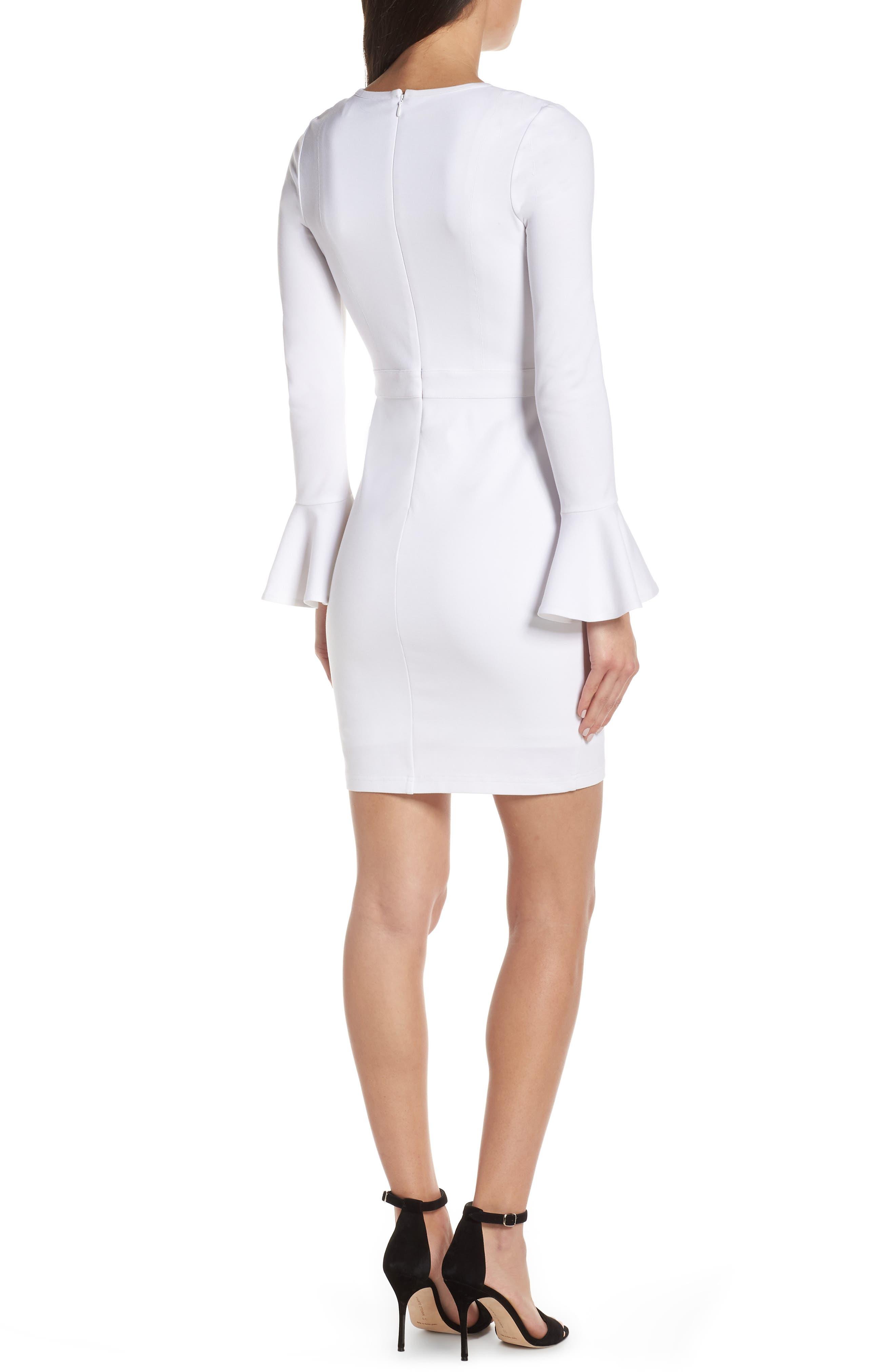 ALI & JAY, Pavillion Bell Cuff Sheath Dress, Alternate thumbnail 2, color, WHITE