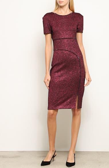 Mod Metallic Knit Sheath Dress, video thumbnail