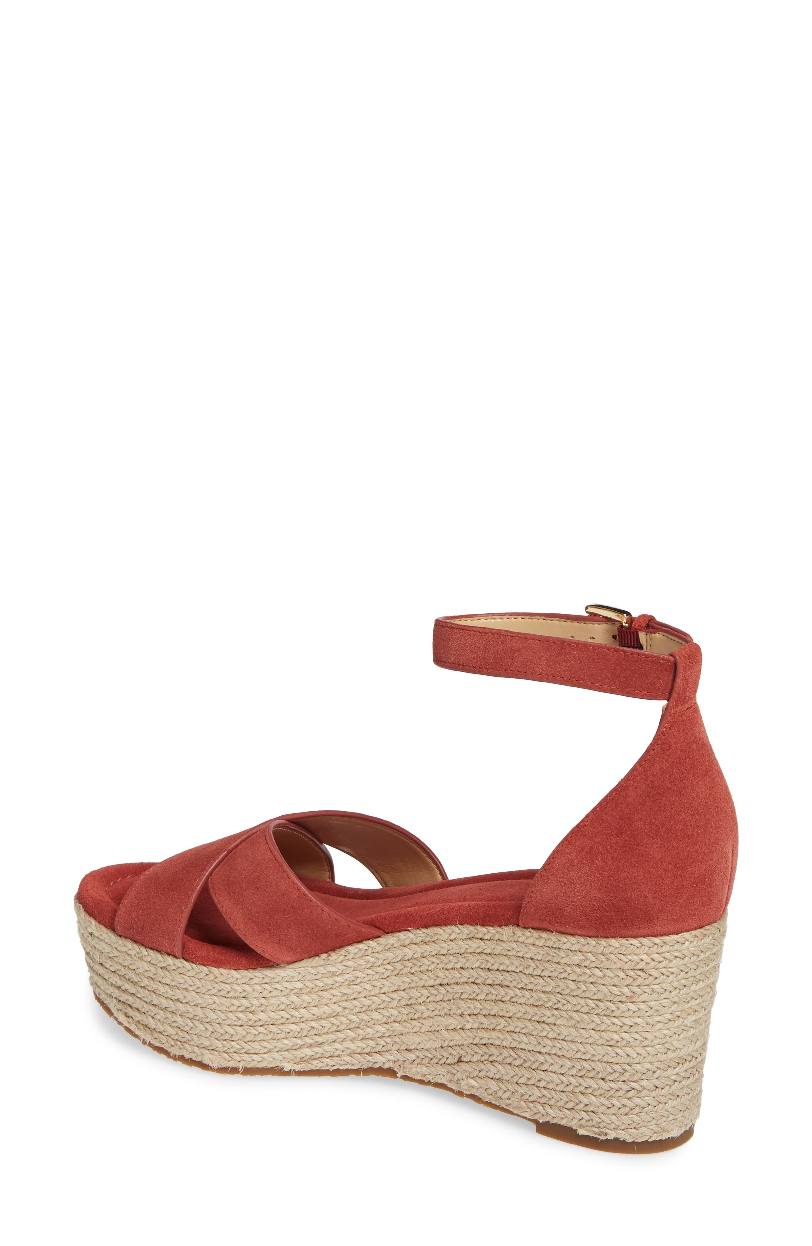 MICHAEL MICHAEL KORS, Desiree Jute Espadrille Wedge, Alternate thumbnail 2, color, TERRACOTTA SUEDE