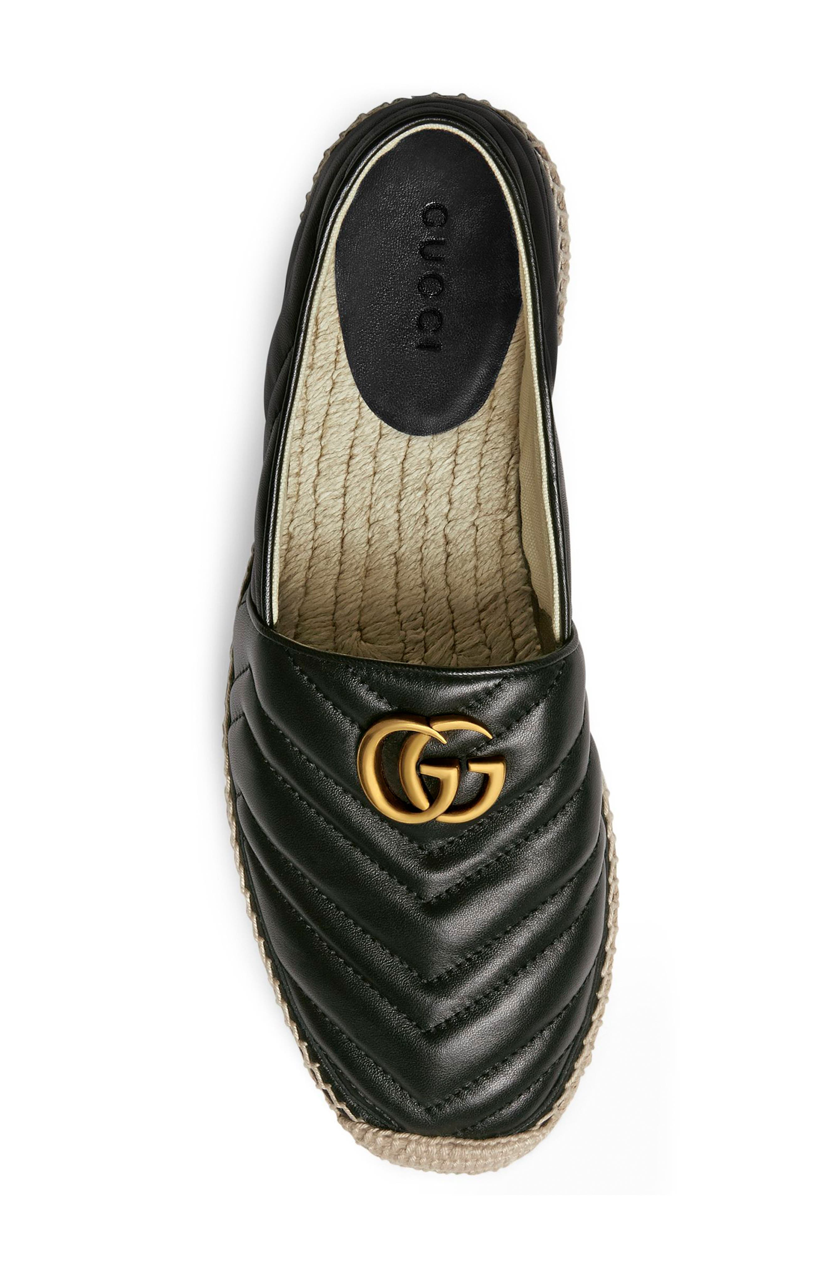 GUCCI, Alejandro Quilted Espadrille, Alternate thumbnail 3, color, NERO