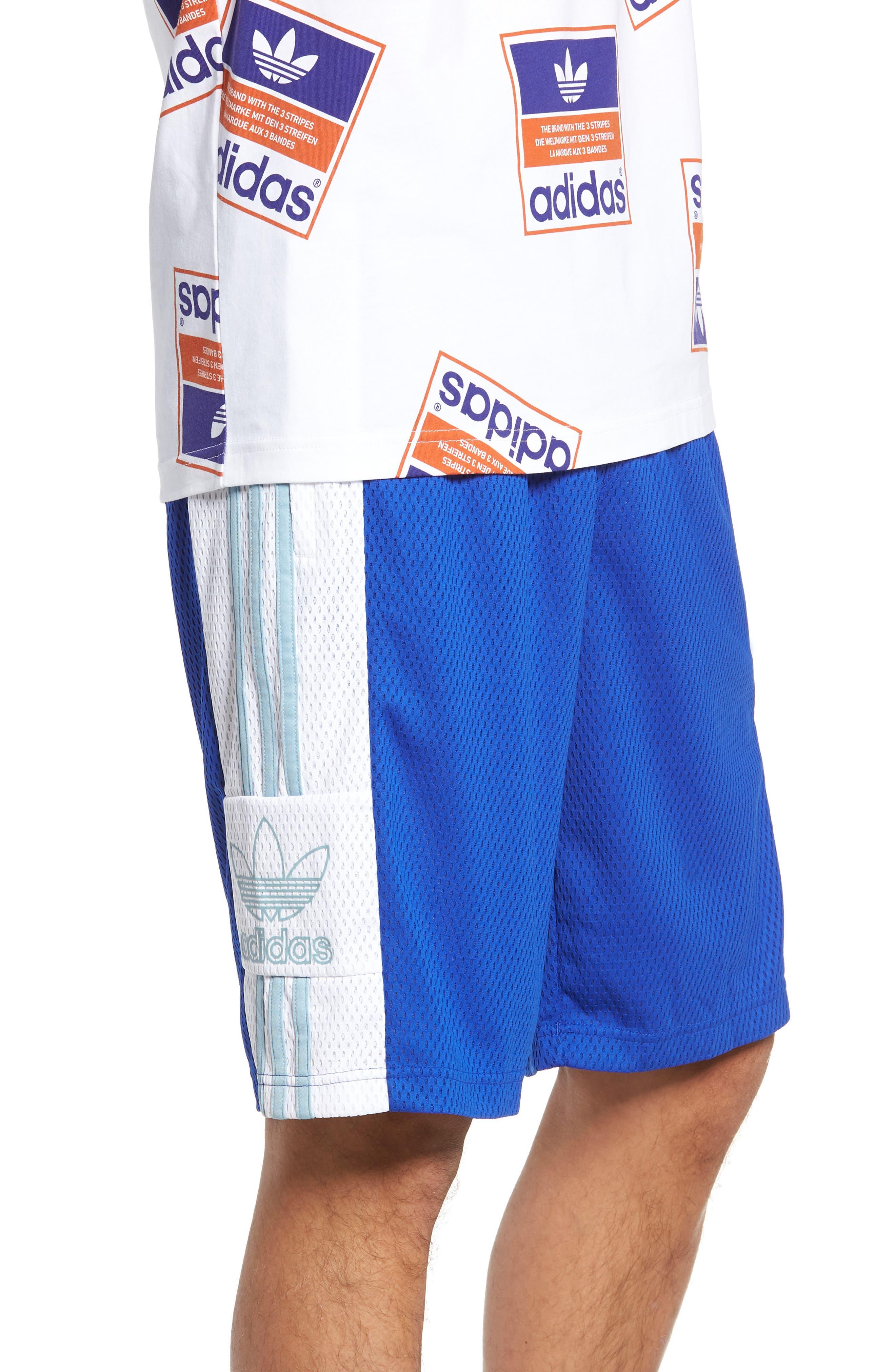 ADIDAS ORIGINALS, Mesh Athletic Shorts, Alternate thumbnail 3, color, BOLD BLUE/ WHITE