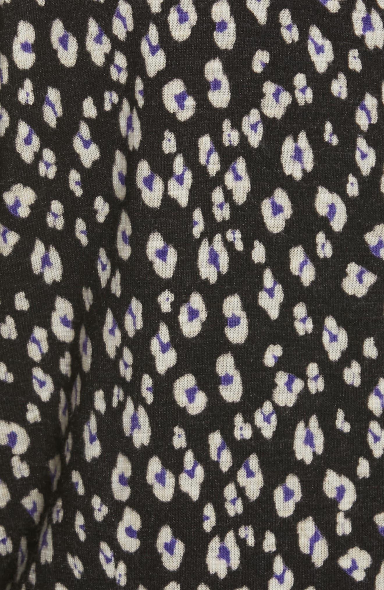REBECCA TAYLOR, Cheetah Ruched Jersey Dress, Alternate thumbnail 5, color, 014