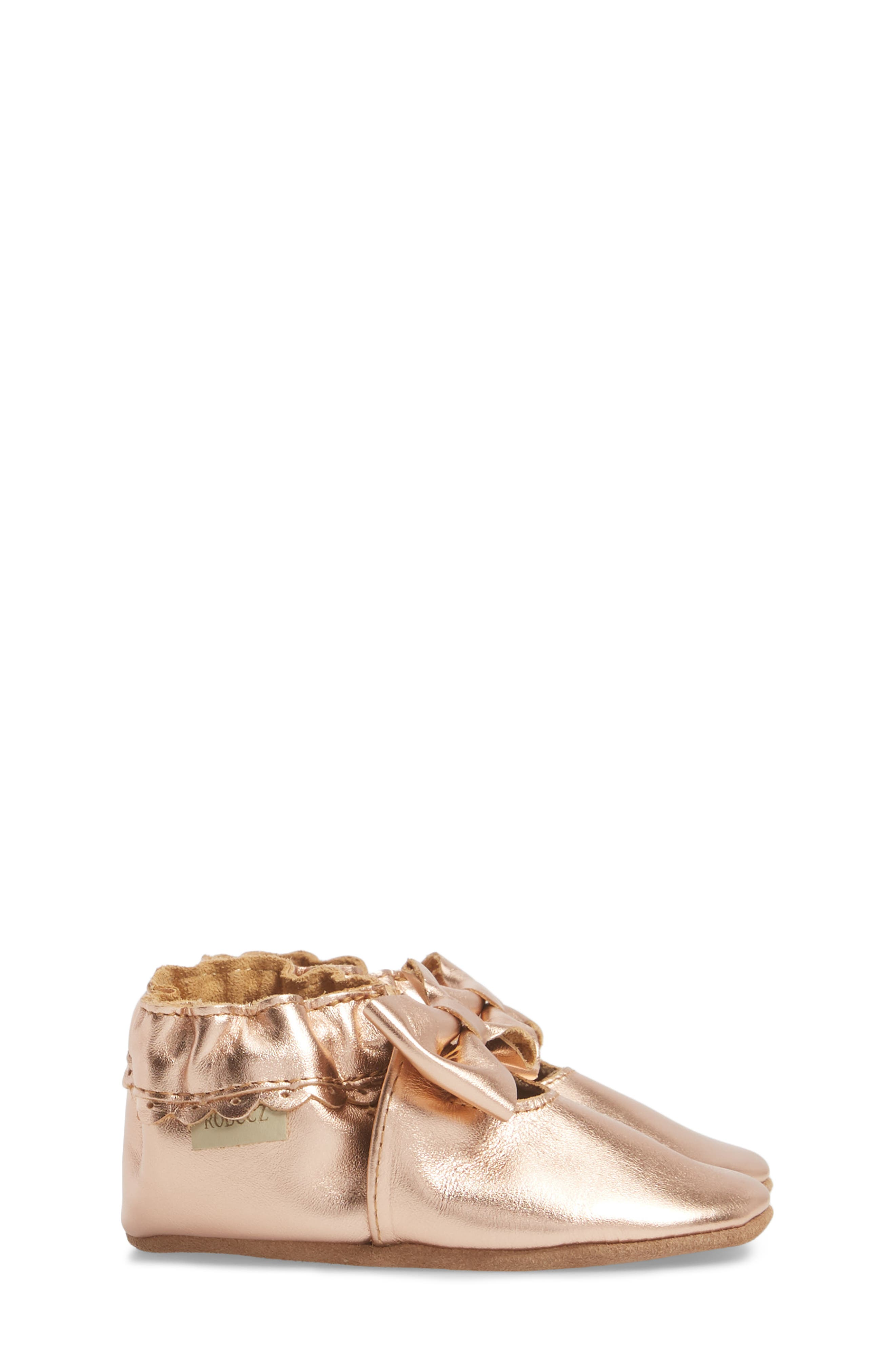 ROBEEZ<SUP>®</SUP>, Rosie Crib Shoes, Alternate thumbnail 3, color, ROSE GOLD