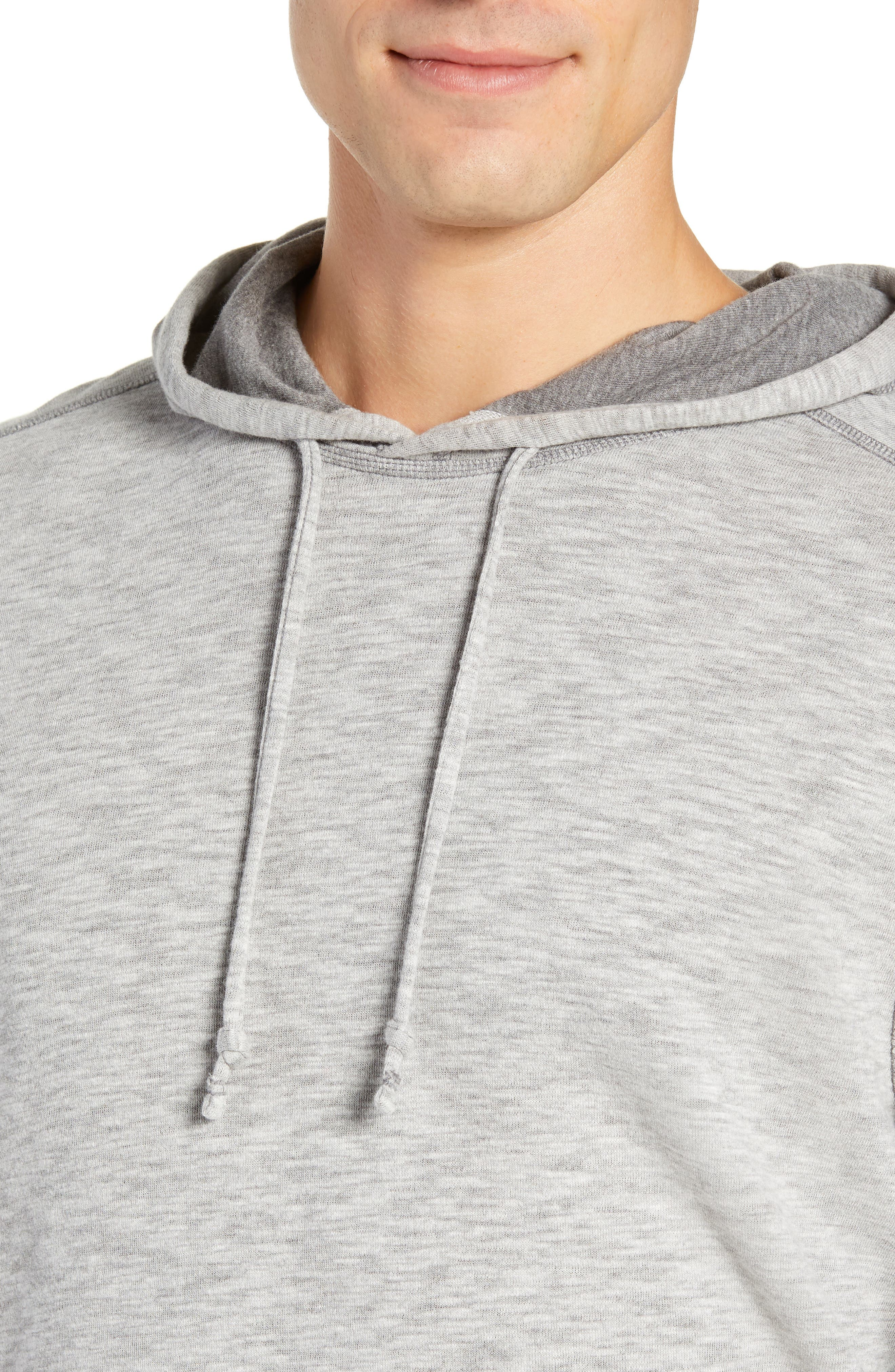 TOMMY BAHAMA, Sea Glass Classic Fit Reversible Hoodie, Alternate thumbnail 5, color, BLACK
