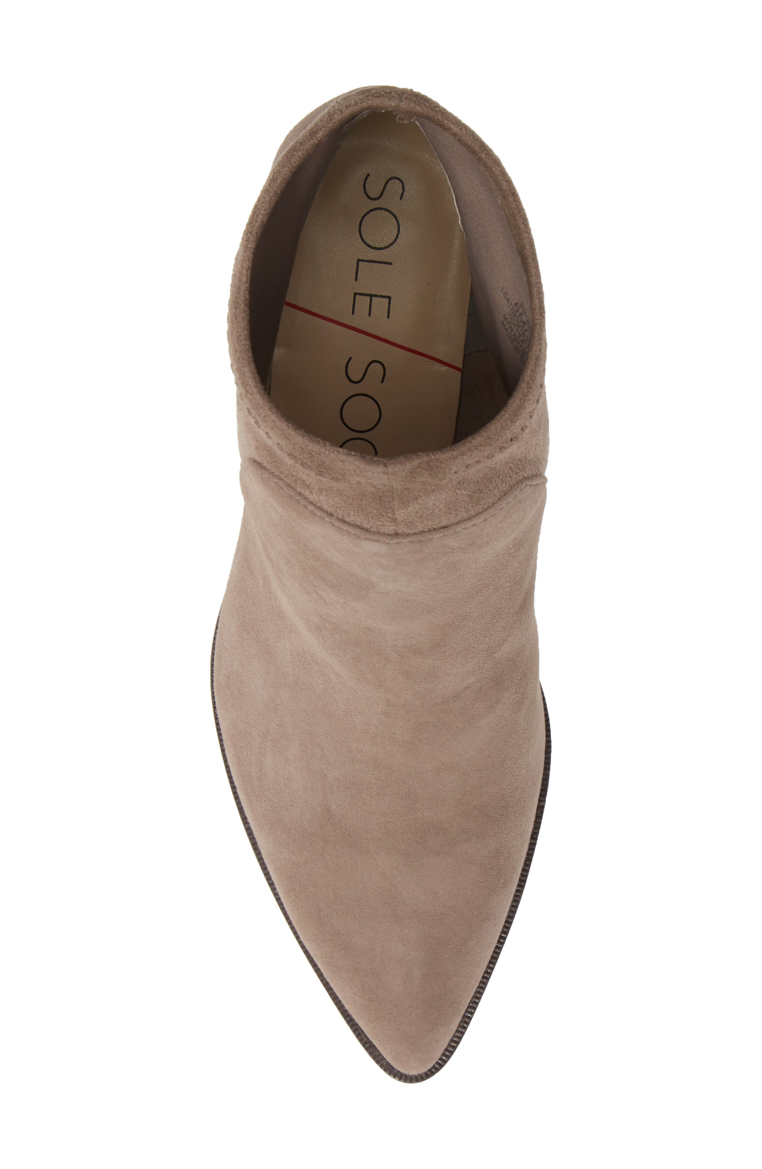 SOLE SOCIETY, Dawnina Bootie, Alternate thumbnail 5, color, PORCINI SUEDE