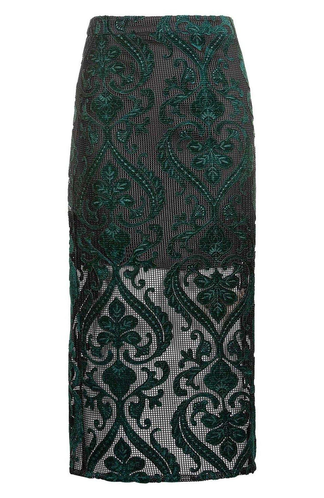 TOPSHOP, Velvet Mesh Pencil Skirt, Alternate thumbnail 4, color, 301