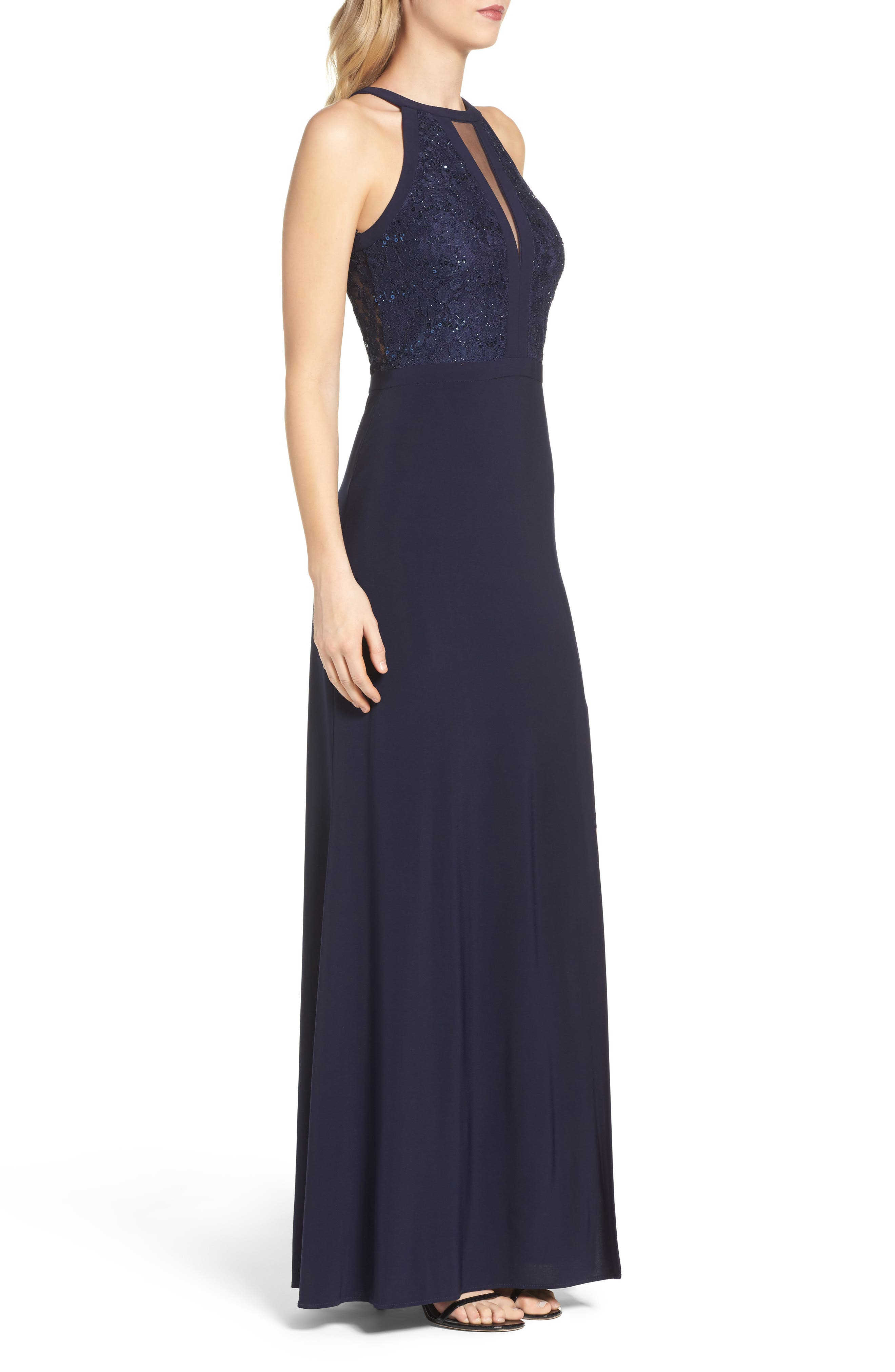 MORGAN & CO., Lace & Jersey Gown, Alternate thumbnail 4, color, NAVY
