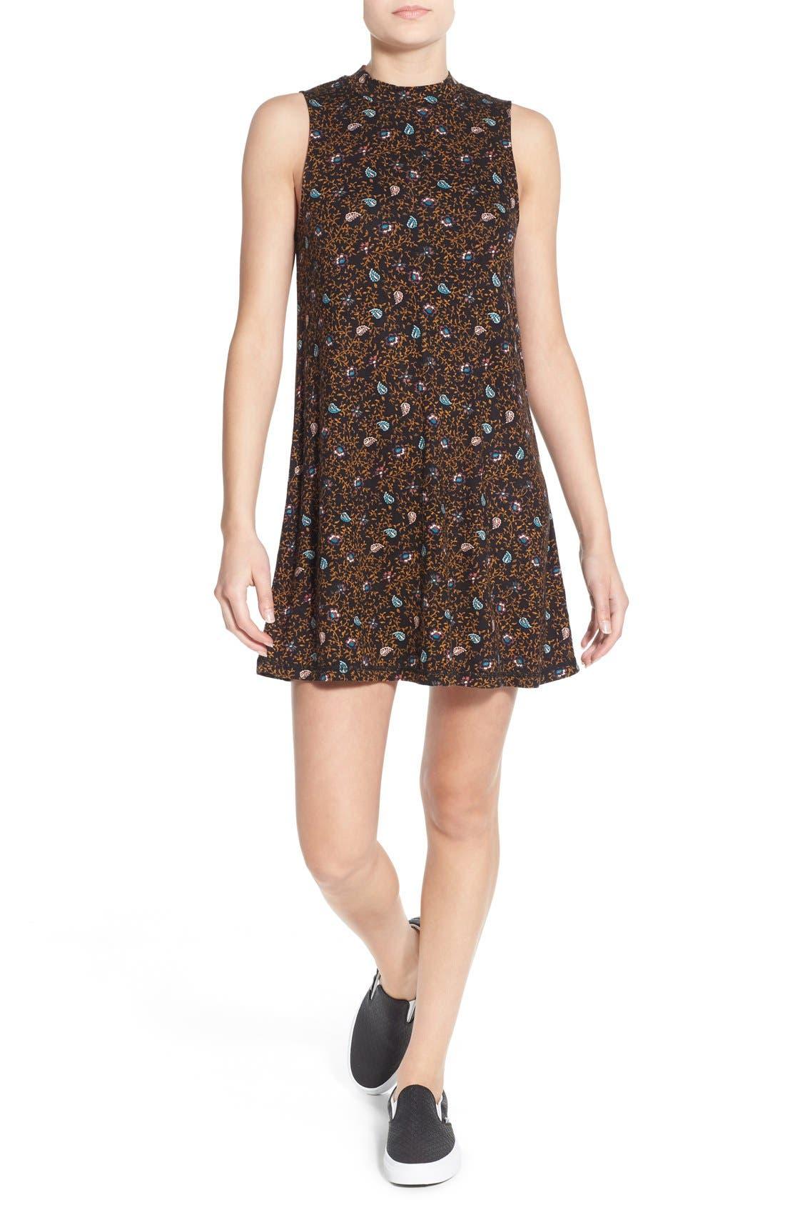 O'NEILL 'Lucy' Print Mock Neck Knit Shift Dress, Main, color, 001