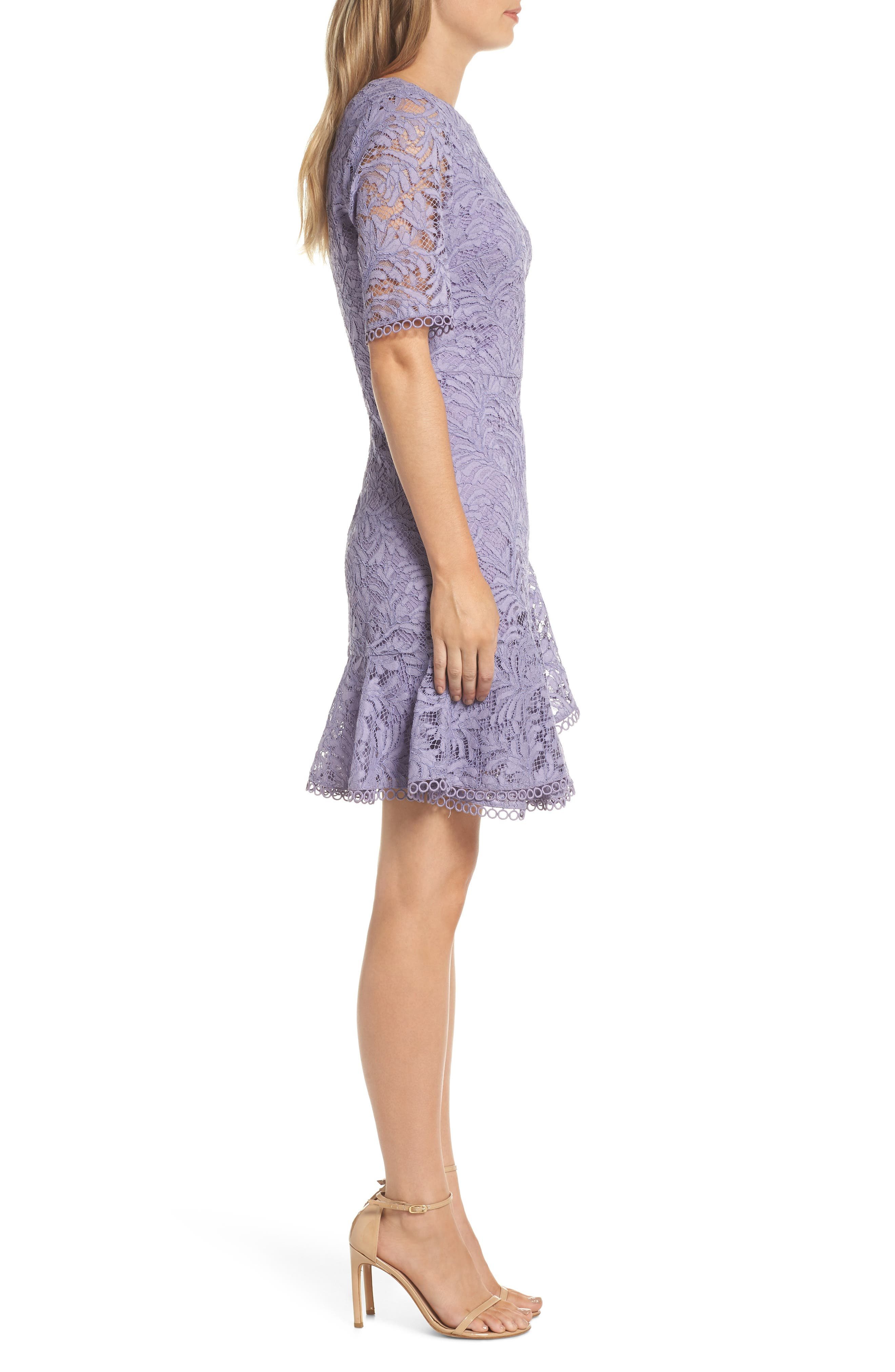 VINCE CAMUTO, Asymmetrical Ruffle Lace Fit & Flare Dress, Alternate thumbnail 4, color, 524