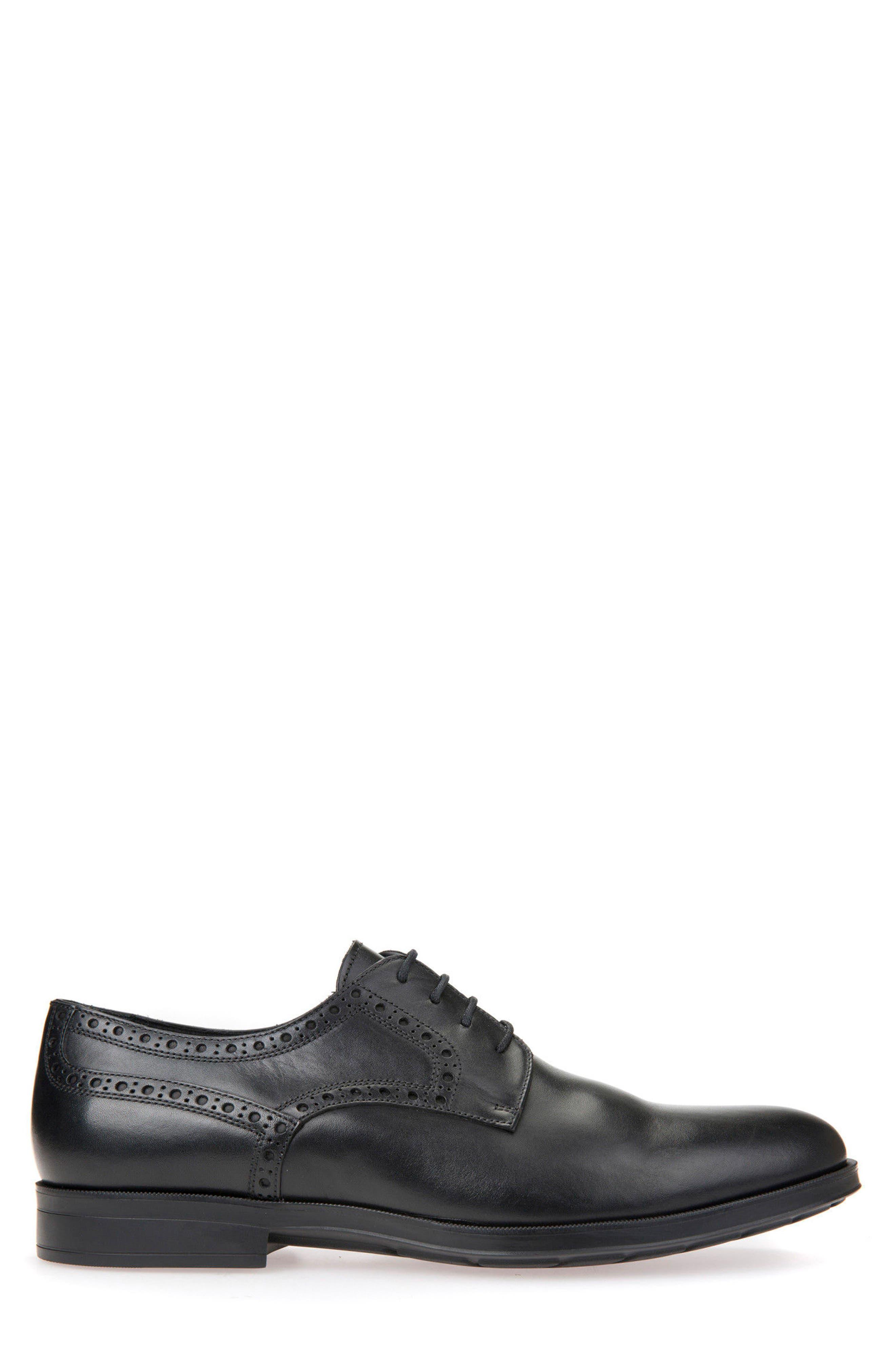 GEOX, Hilstone 3 Plain Toe Derby, Alternate thumbnail 3, color, BLACK LEATHER