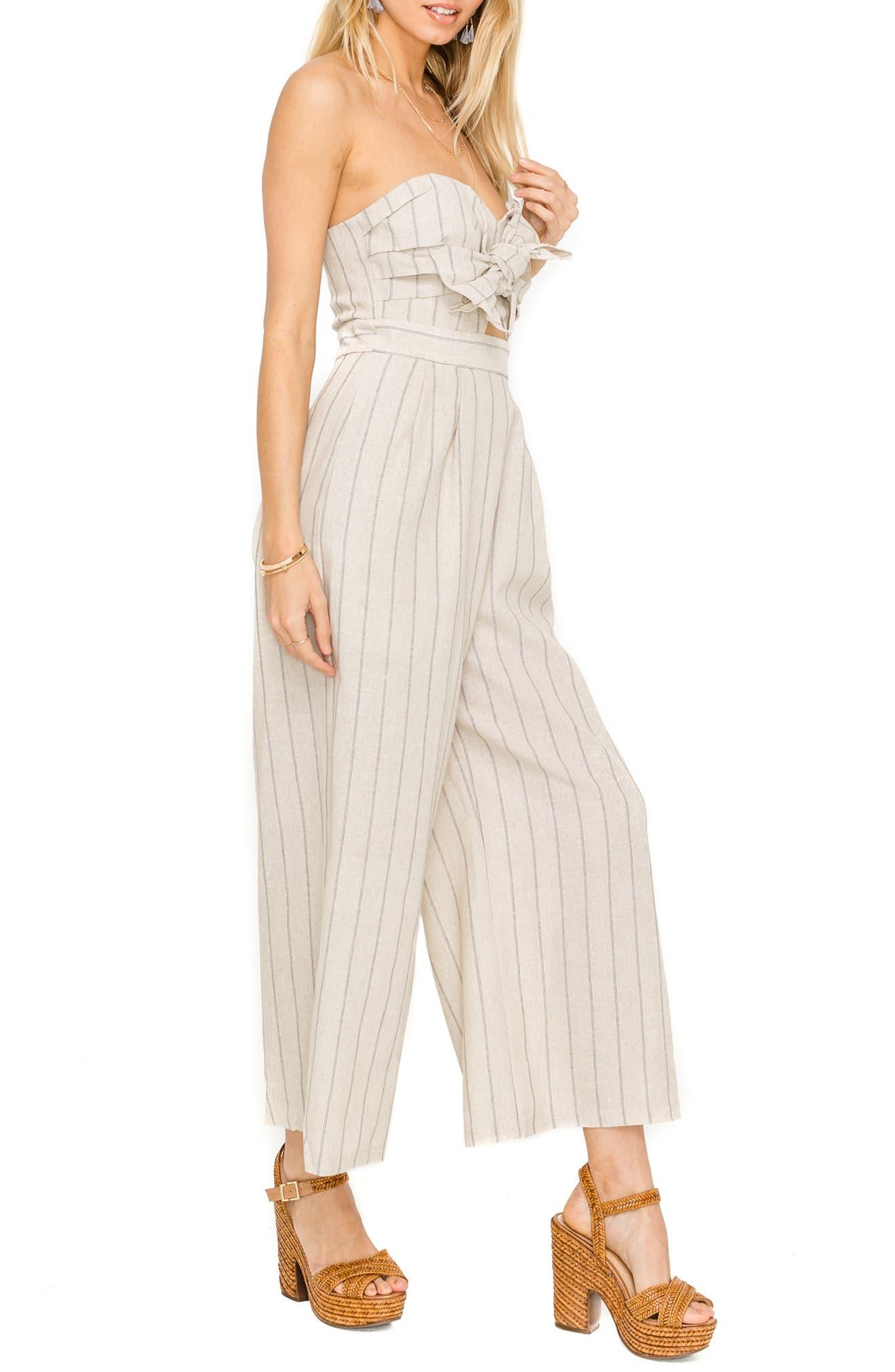 ASTR THE LABEL, Mara Strapless Cotton & Linen Jumpsuit, Alternate thumbnail 3, color, NATURAL/ BLACK STRIPE