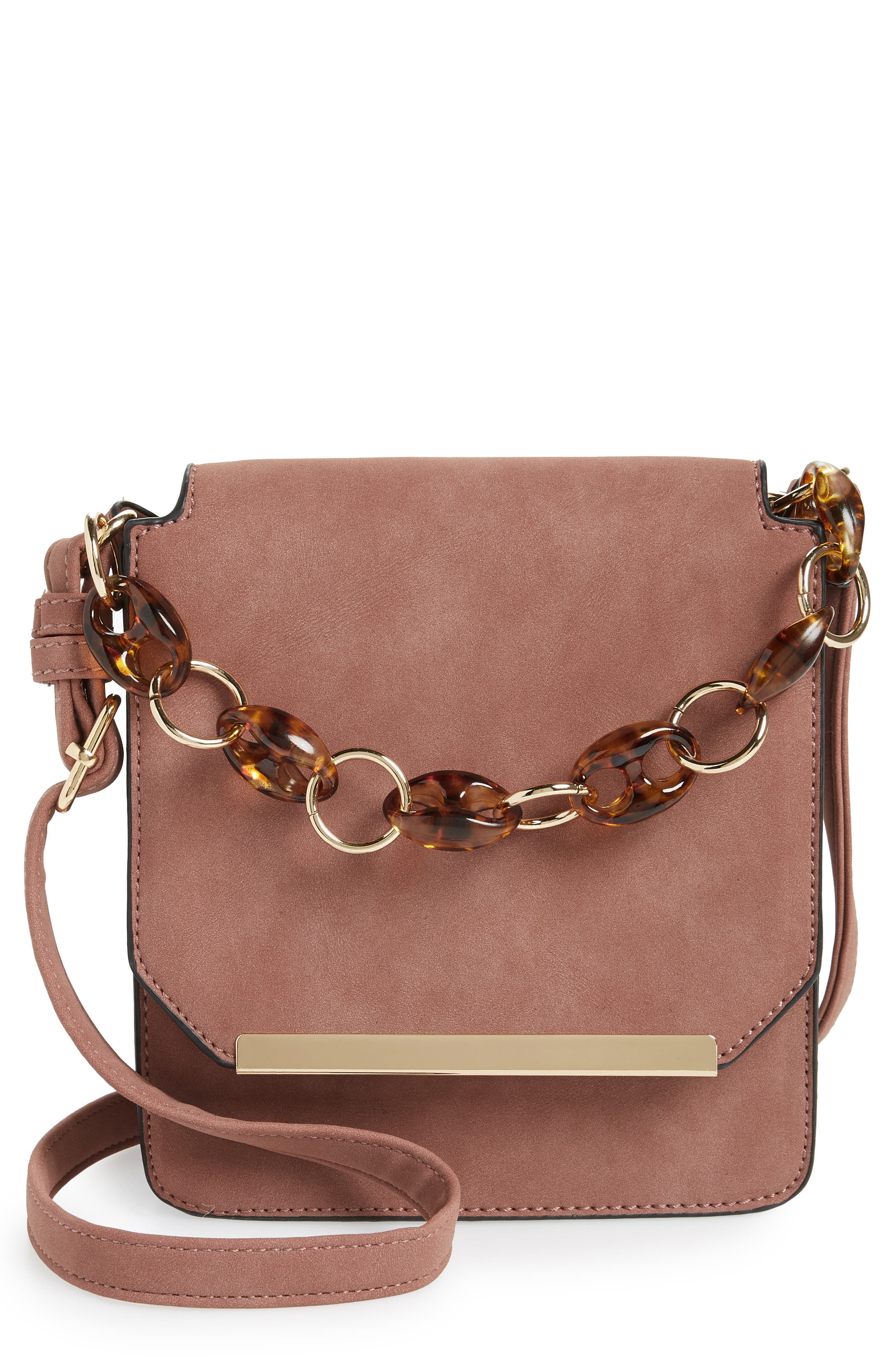 VIOLET RAY NEW YORK Faux Leather Crossbody Bag, Main, color, 250