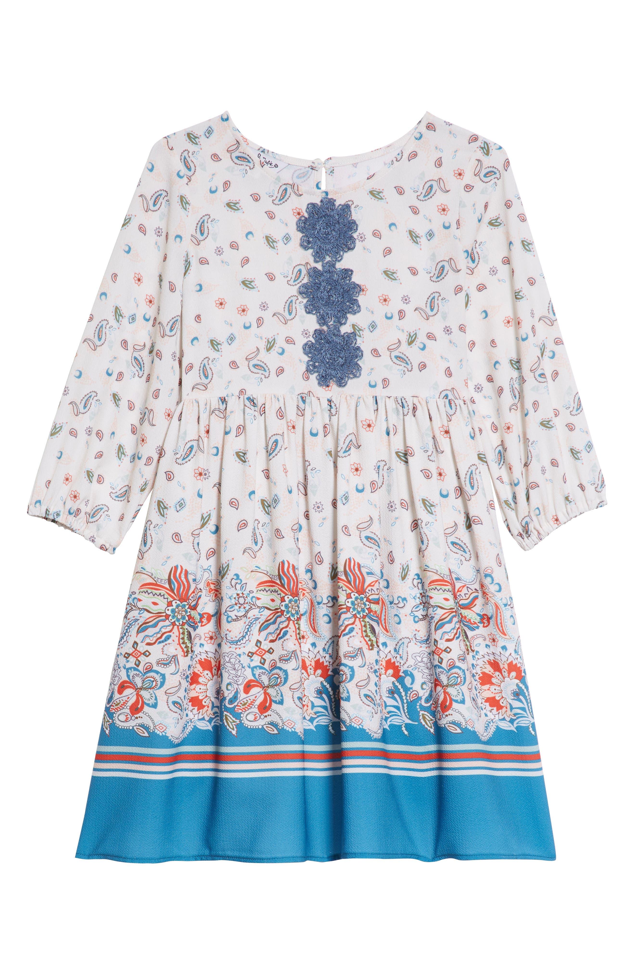 PIPPA & JULIE, Boho Paisley Dress & Faux Fur Vest Set, Alternate thumbnail 3, color, 900