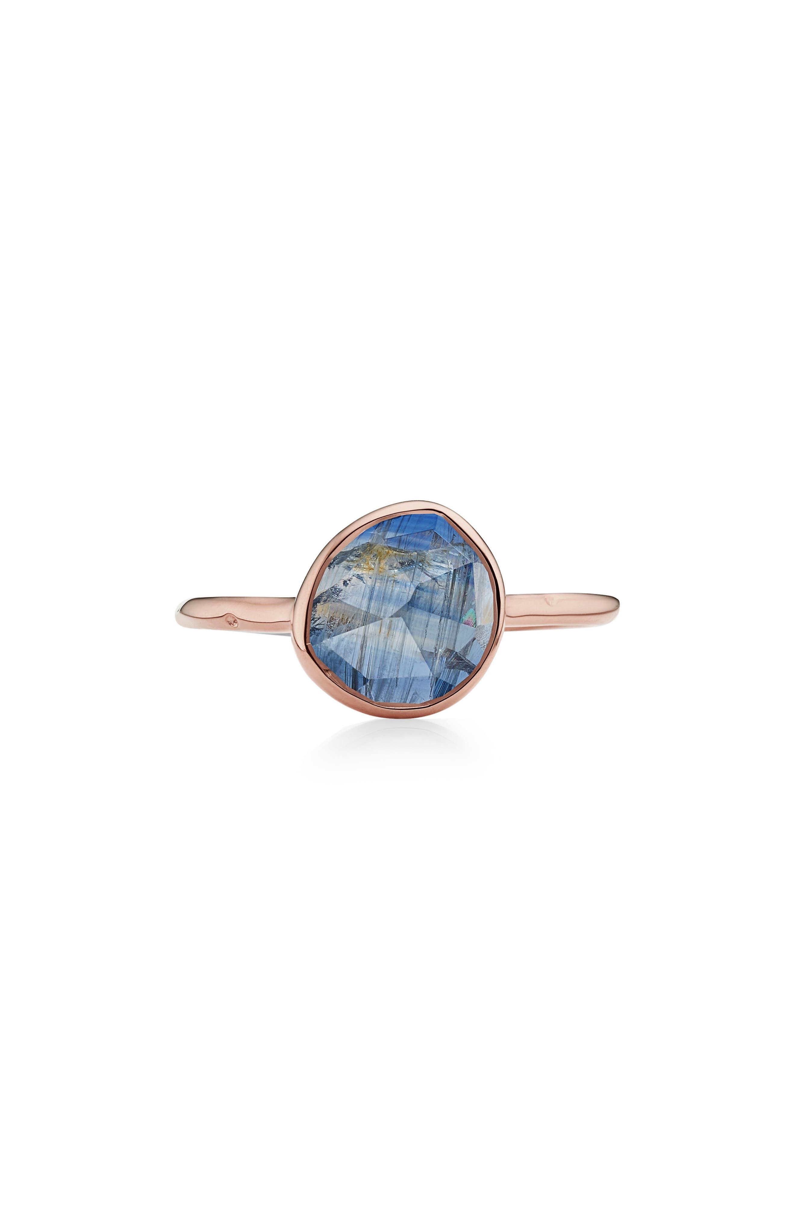 MONICA VINADER, Siren Semiprecious Stone Stacking Ring, Main thumbnail 1, color, ROSE GOLD/ KYANITE