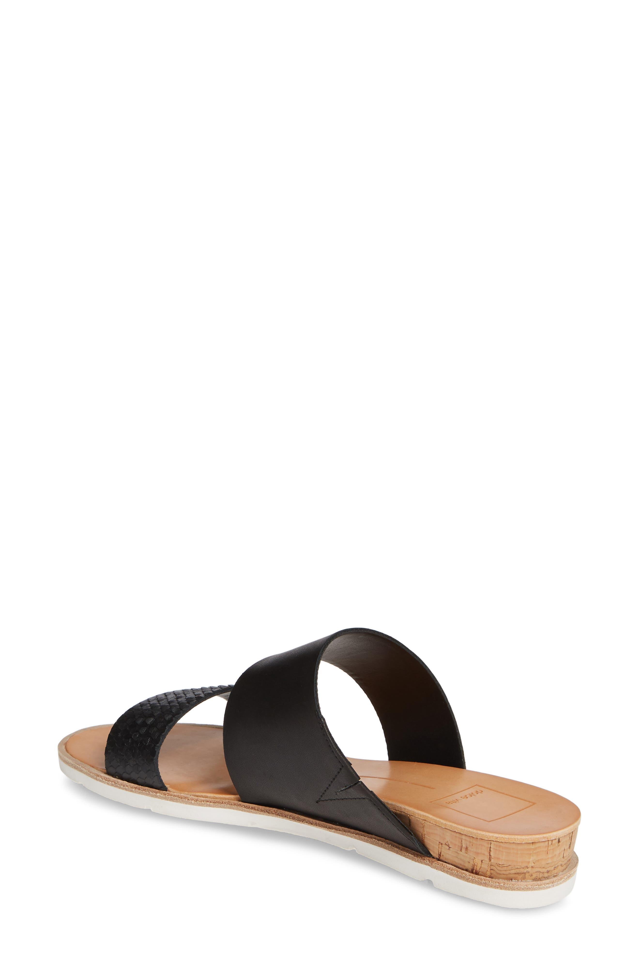 DOLCE VITA, Vala Wedge Slide Sandal, Alternate thumbnail 2, color, BLACK LEATHER