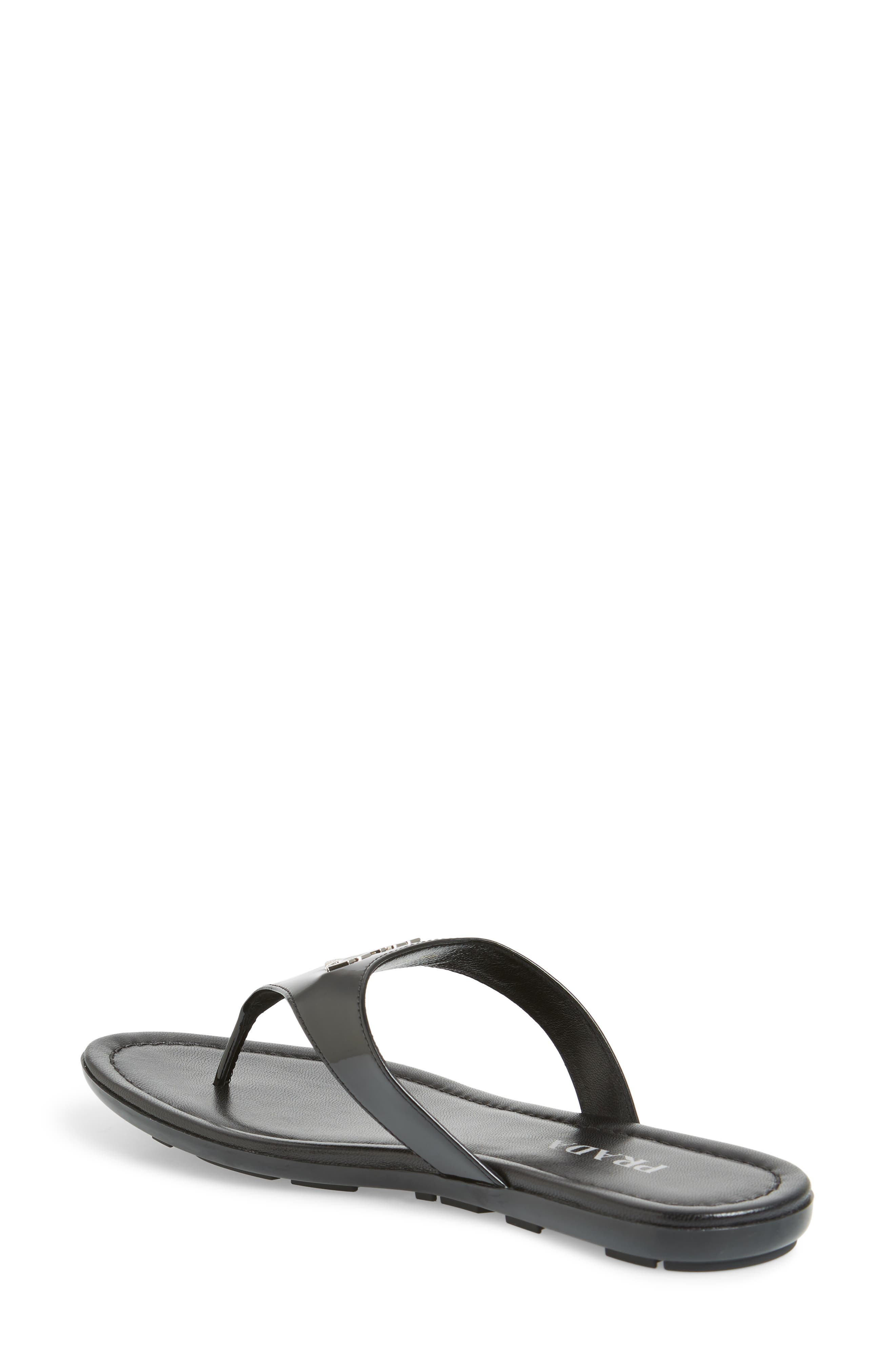 PRADA, Logo Flip Flop, Alternate thumbnail 2, color, BLACK