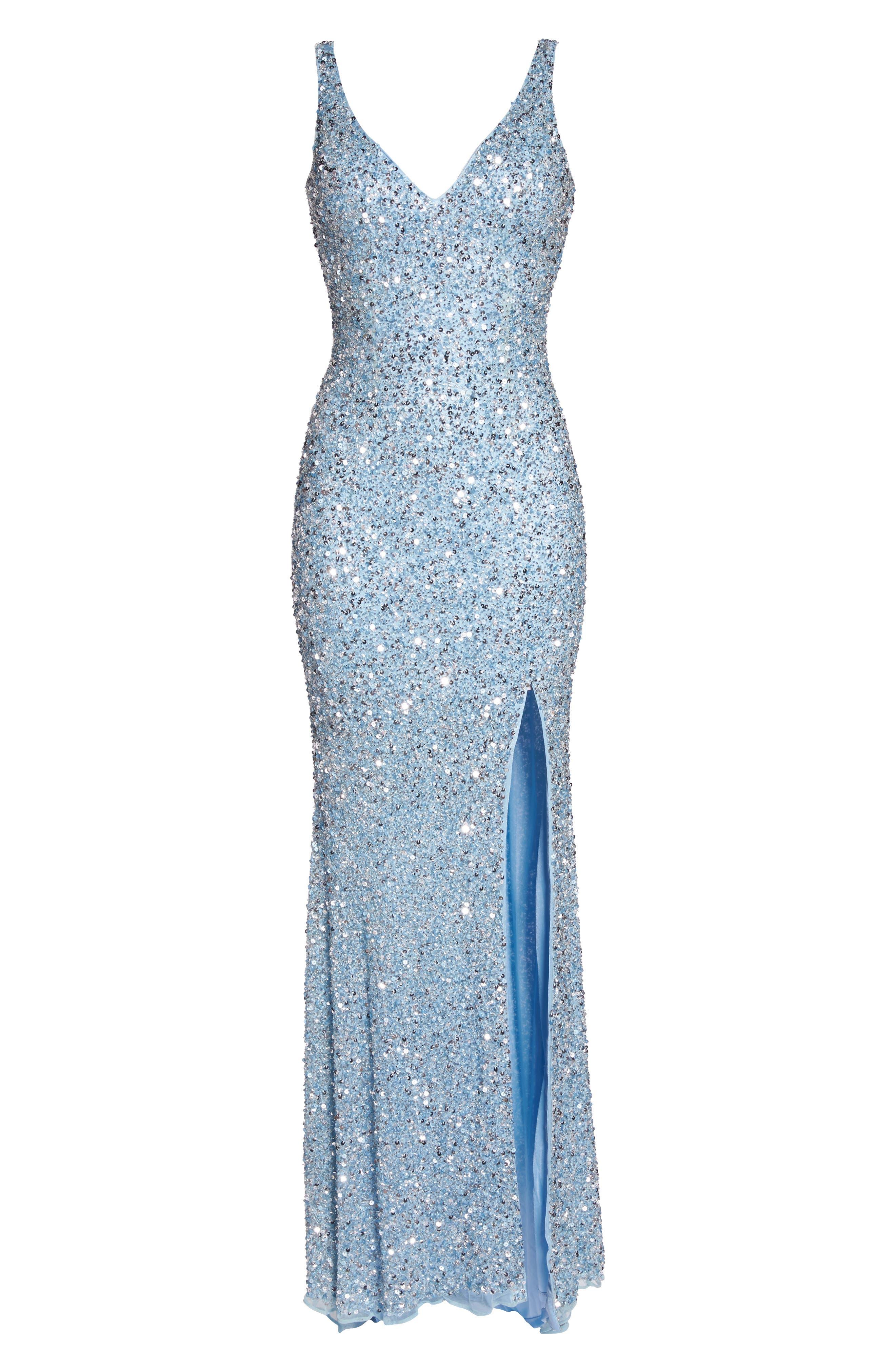 MAC DUGGAL, V-Neck Sequin Gown, Alternate thumbnail 6, color, POWDER BLUE
