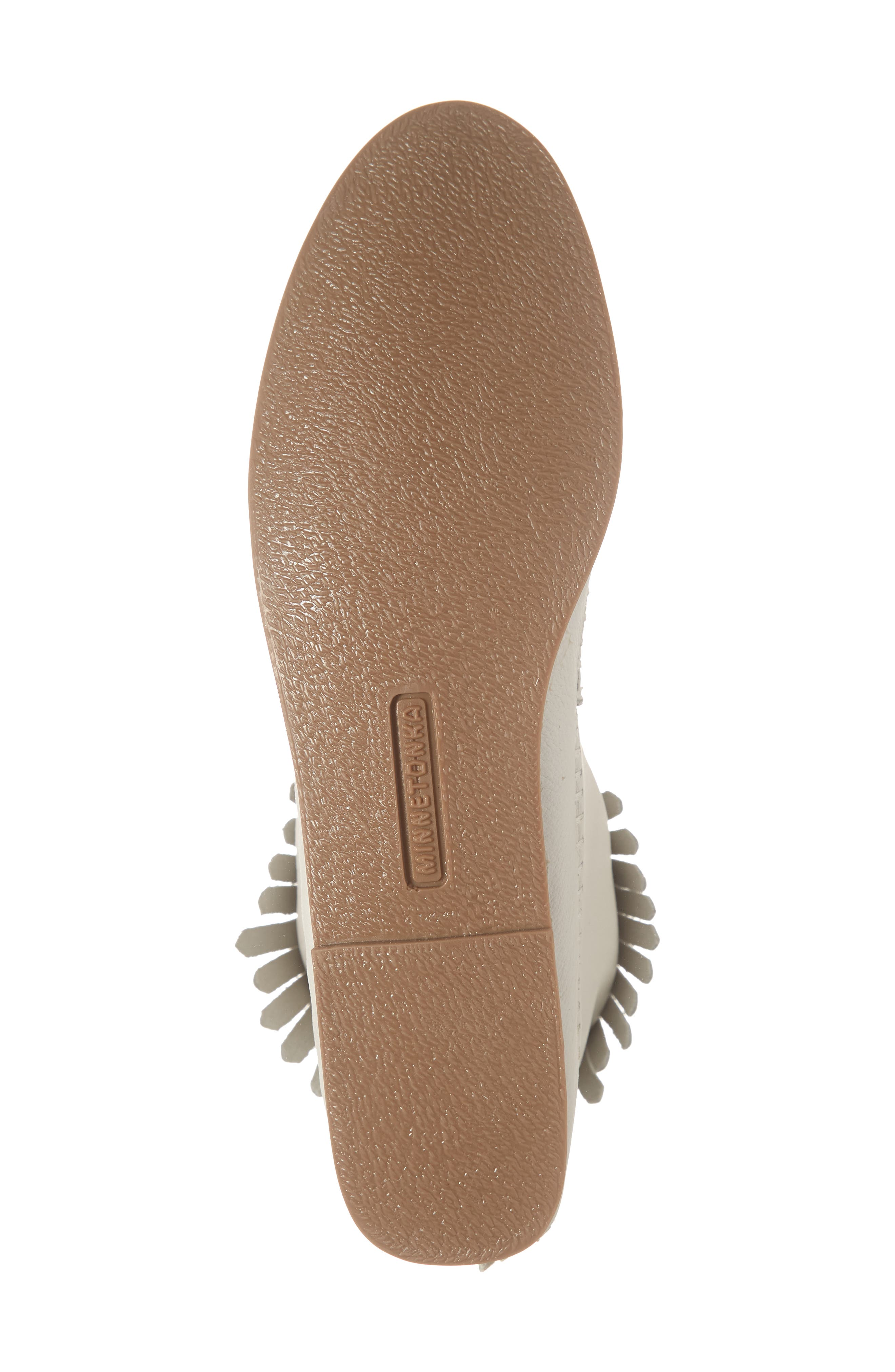 MINNETONKA, x Lottie Moss Lauryn Fringe Bootie, Alternate thumbnail 6, color, WHITE LEATHER