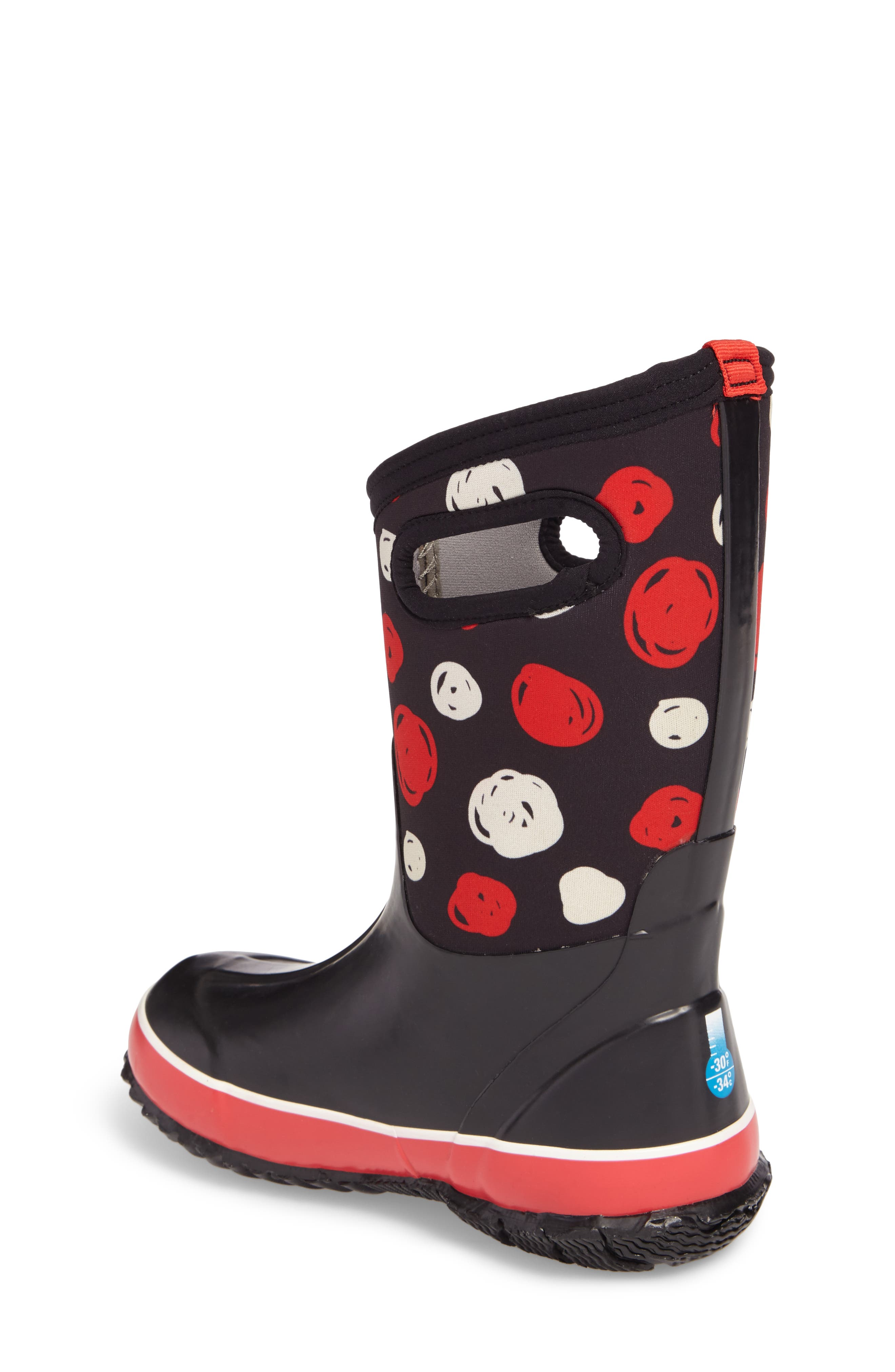 BOGS, Classic Sketched Dots Insulated Waterproof Boot, Alternate thumbnail 2, color, BLACK MULTI