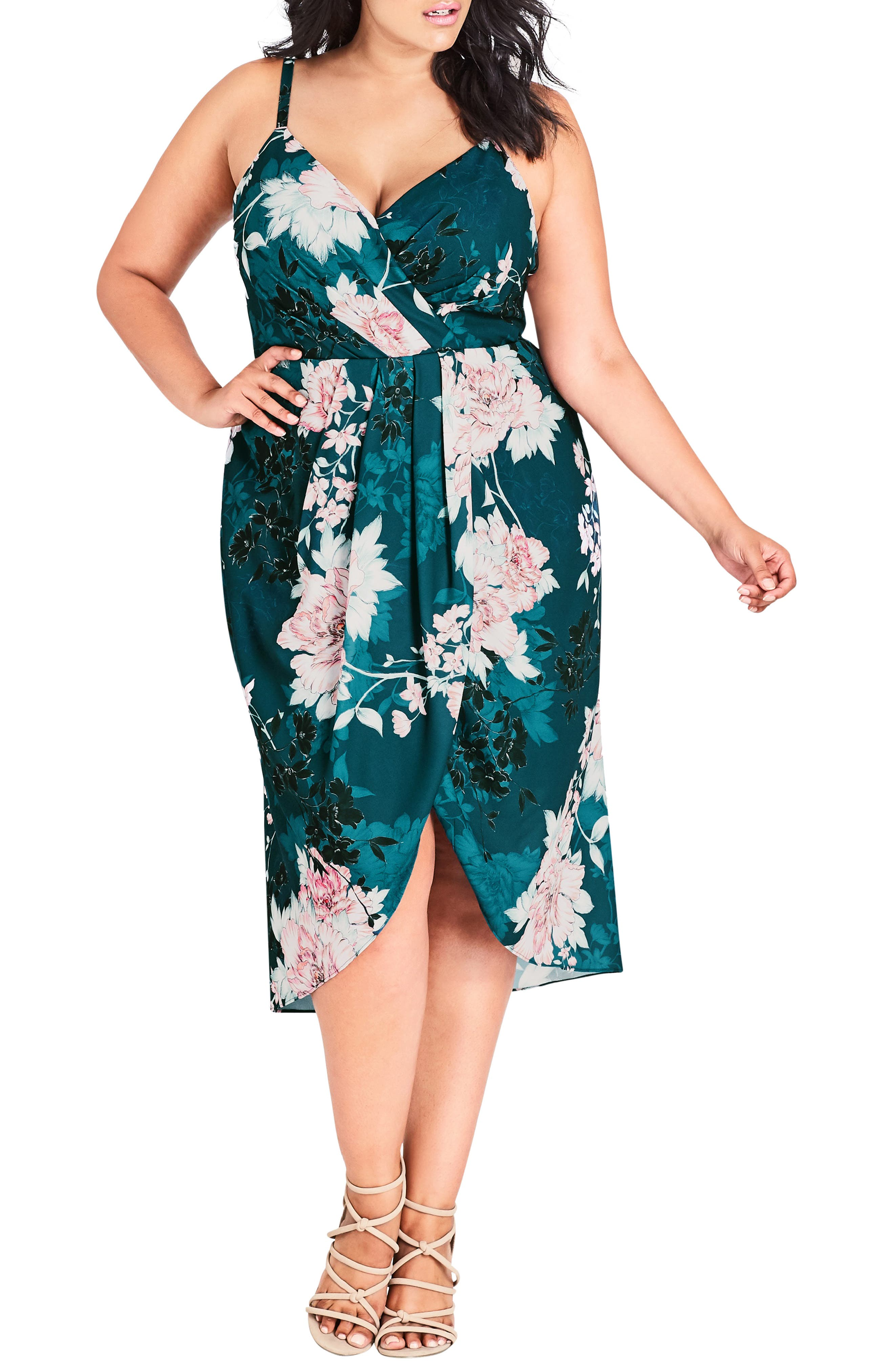 Plus Size City Chic Jade Bloom Faux Wrap Dress